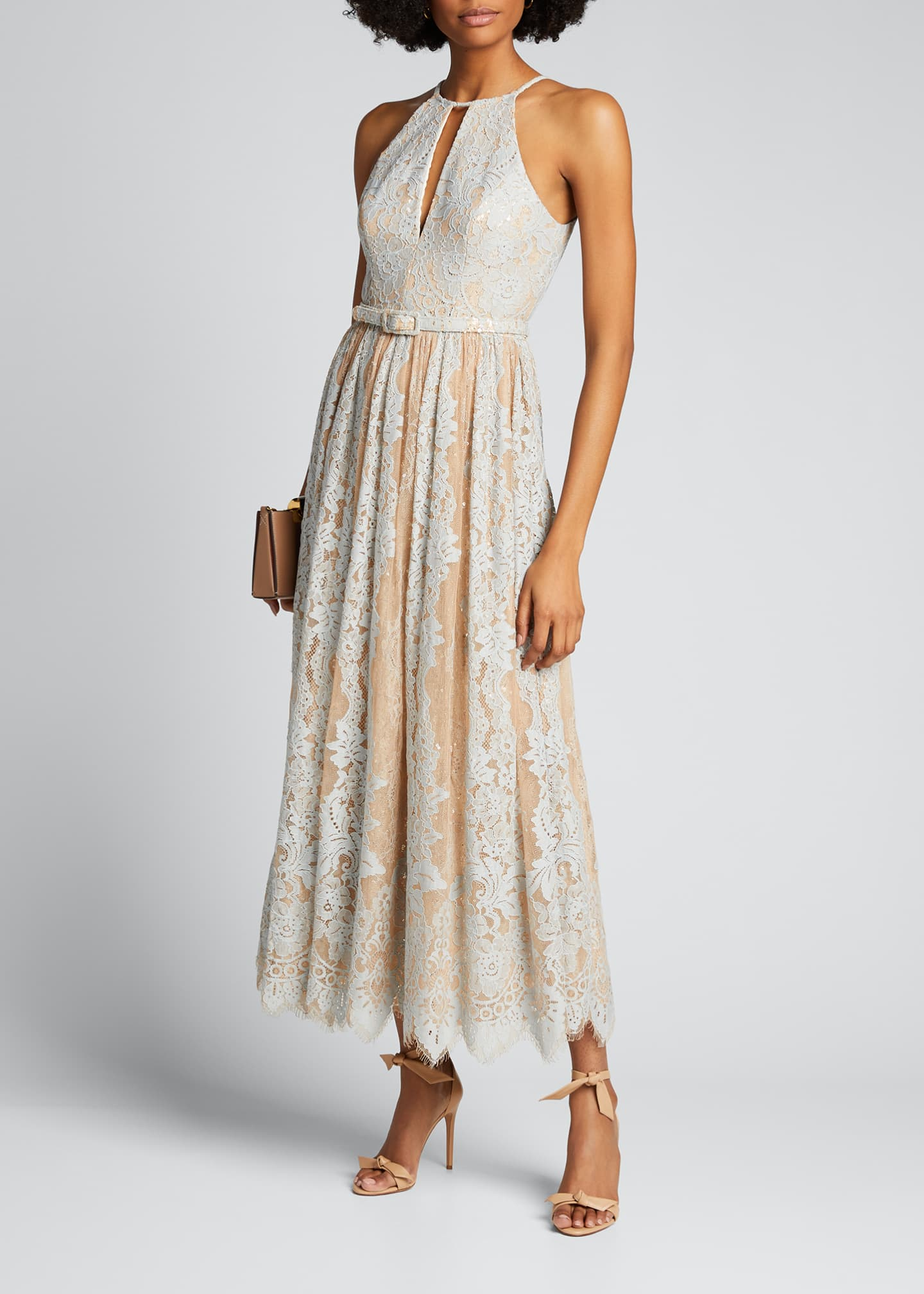 Image 1 of 5: Sequin Lace Racer Halter Dress