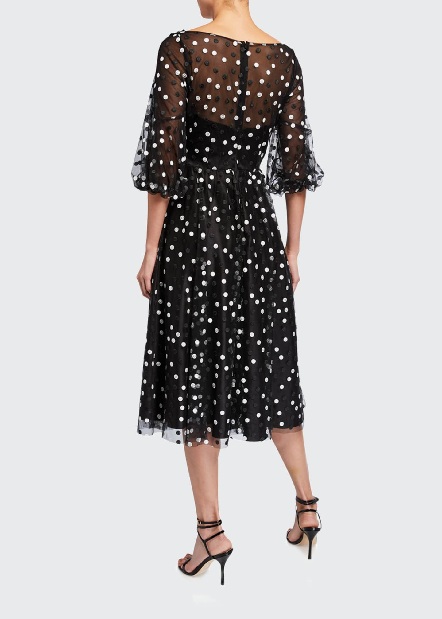 Image 2 of 2: Dotted Tulle Puff-Sleeve Dress