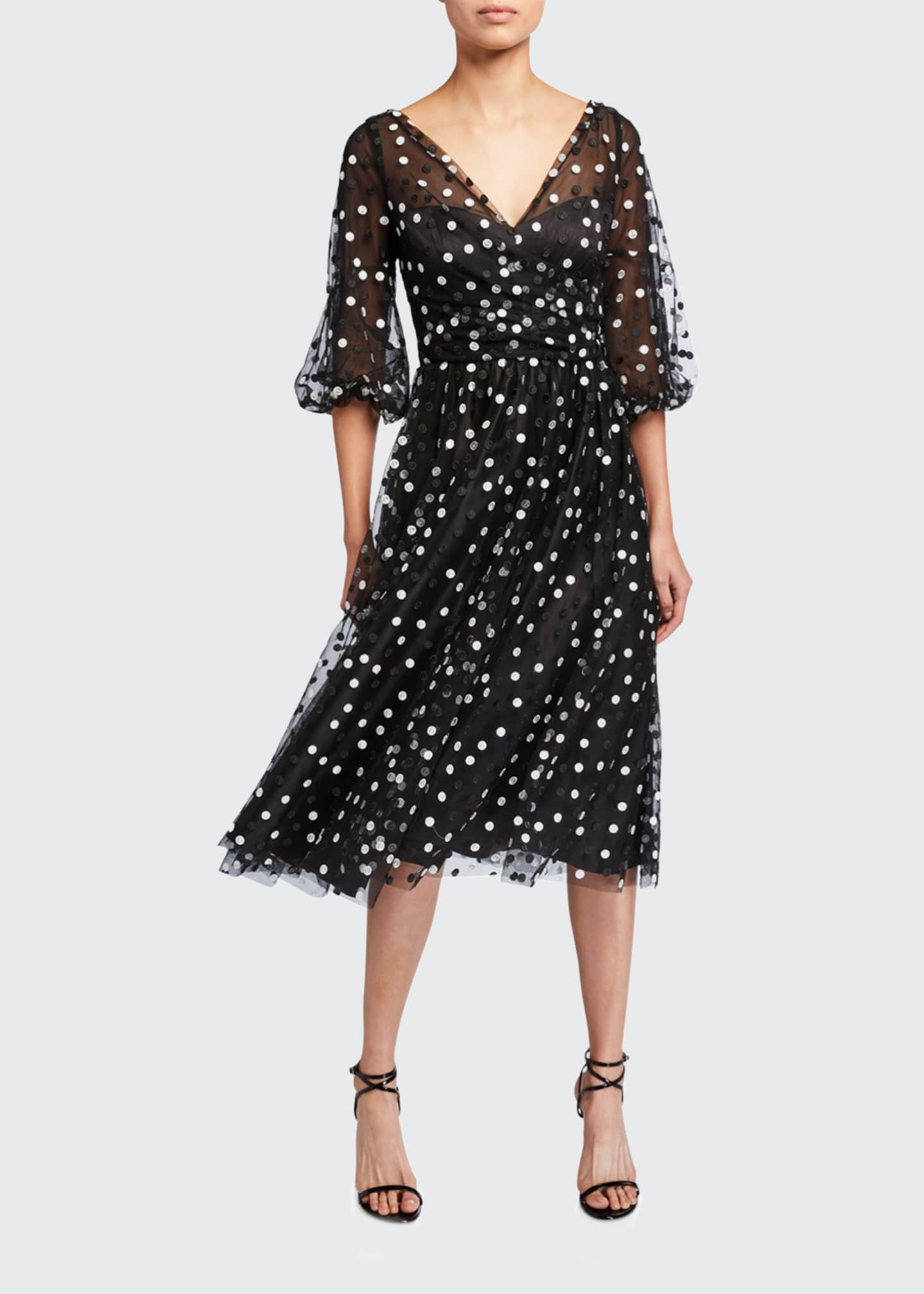 Image 1 of 2: Dotted Tulle Puff-Sleeve Dress
