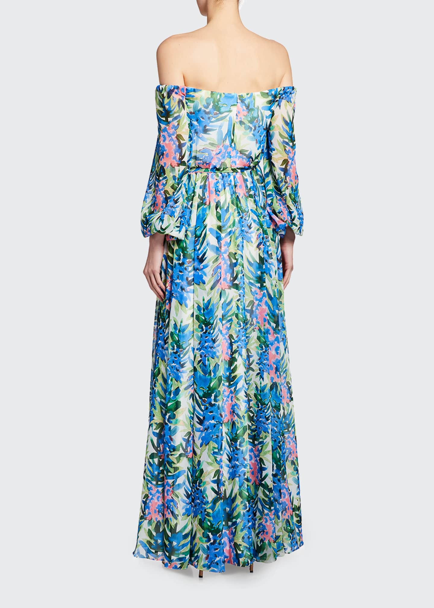 Image 2 of 2: Floral Print Off-the-Shoulder Chiffon Gown
