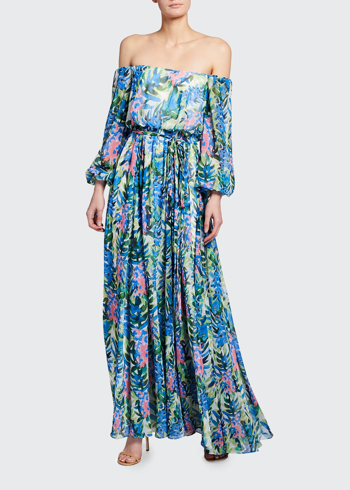Image 1 of 2: Floral Print Off-the-Shoulder Chiffon Gown