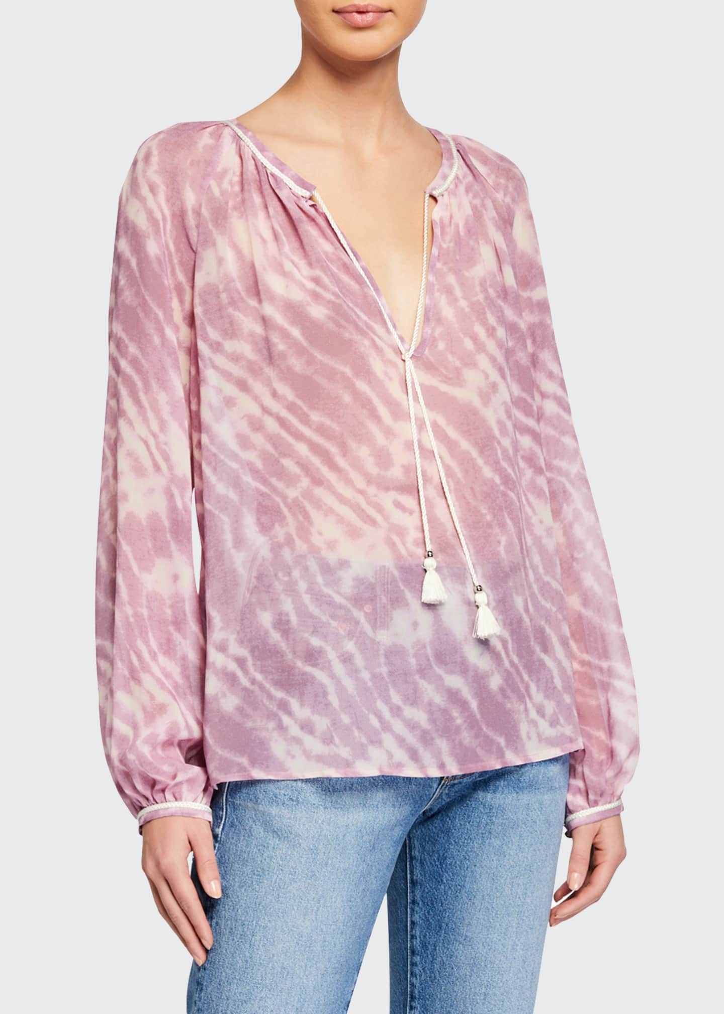 Image 1 of 2: Clarissa Tie-Dye Long-Sleeve Top