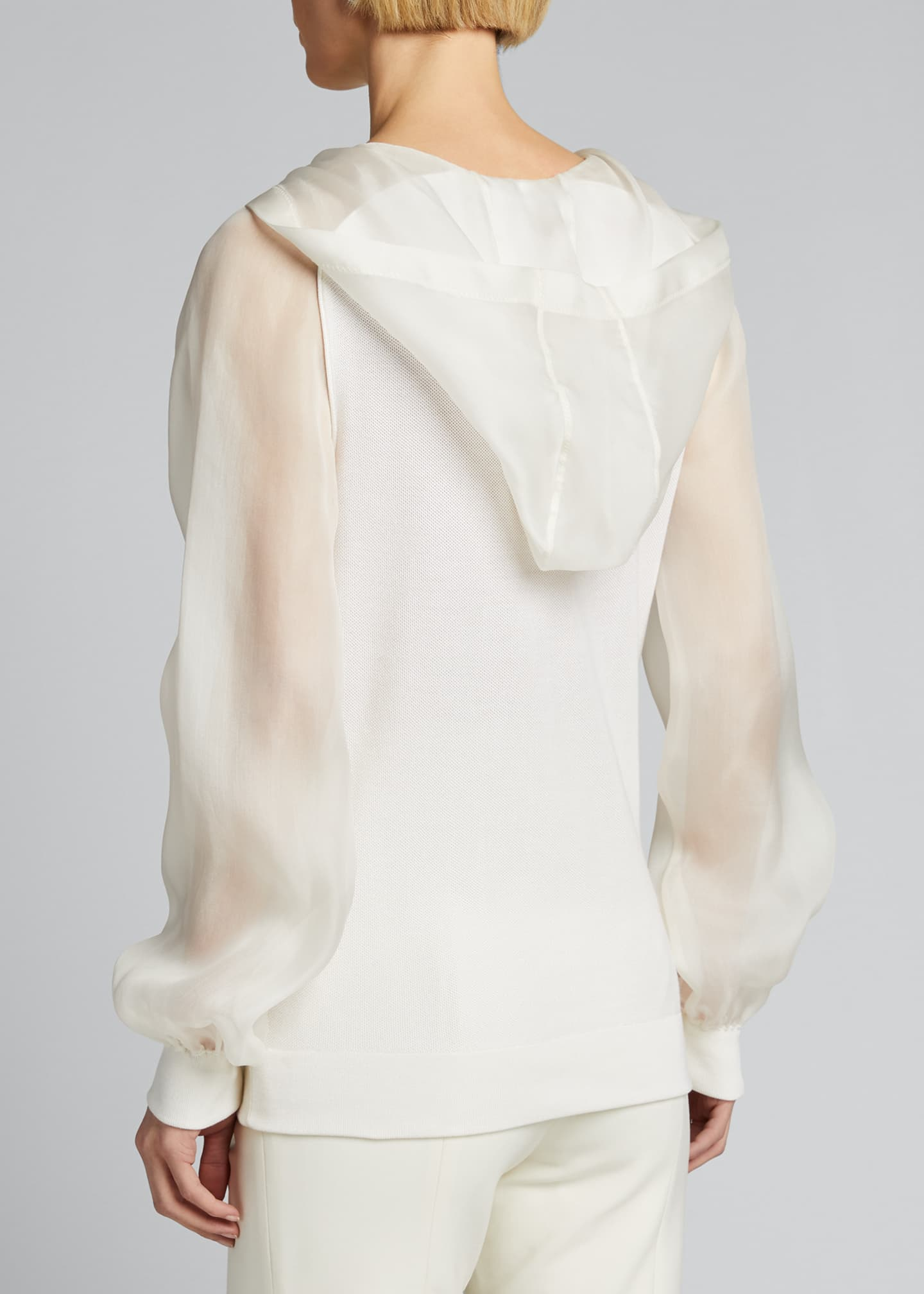 Image 2 of 5: Silk Knit Hoodie with Chiffon Trim