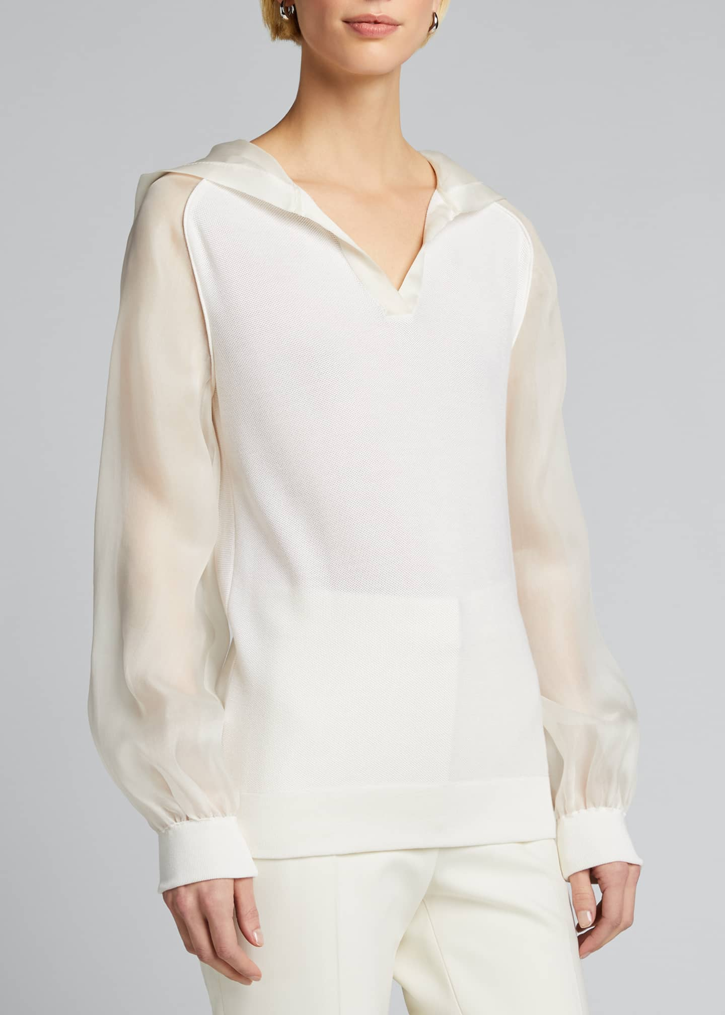 Image 3 of 5: Silk Knit Hoodie with Chiffon Trim