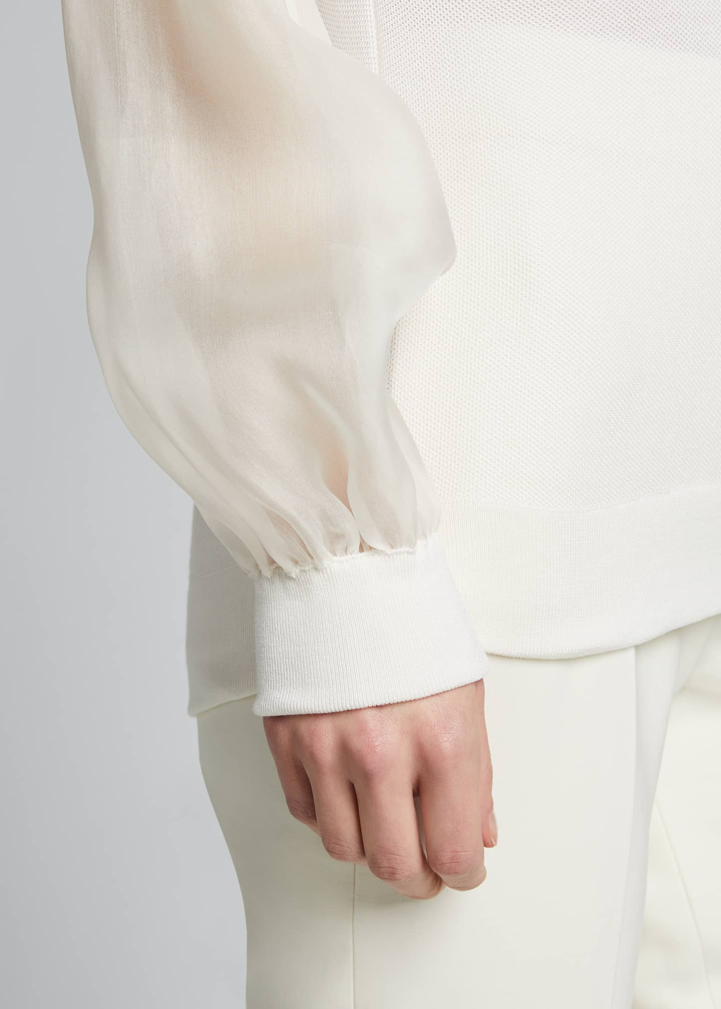 Image 4 of 5: Silk Knit Hoodie with Chiffon Trim