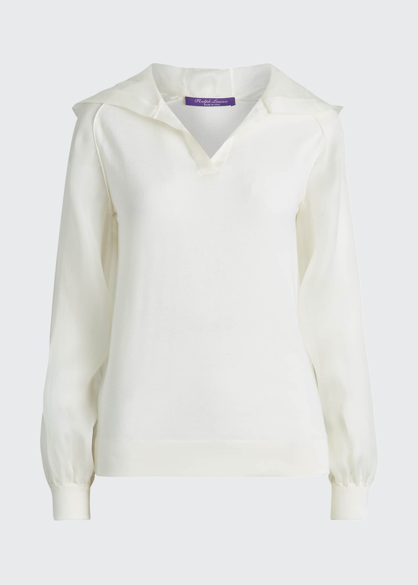 Image 5 of 5: Silk Knit Hoodie with Chiffon Trim