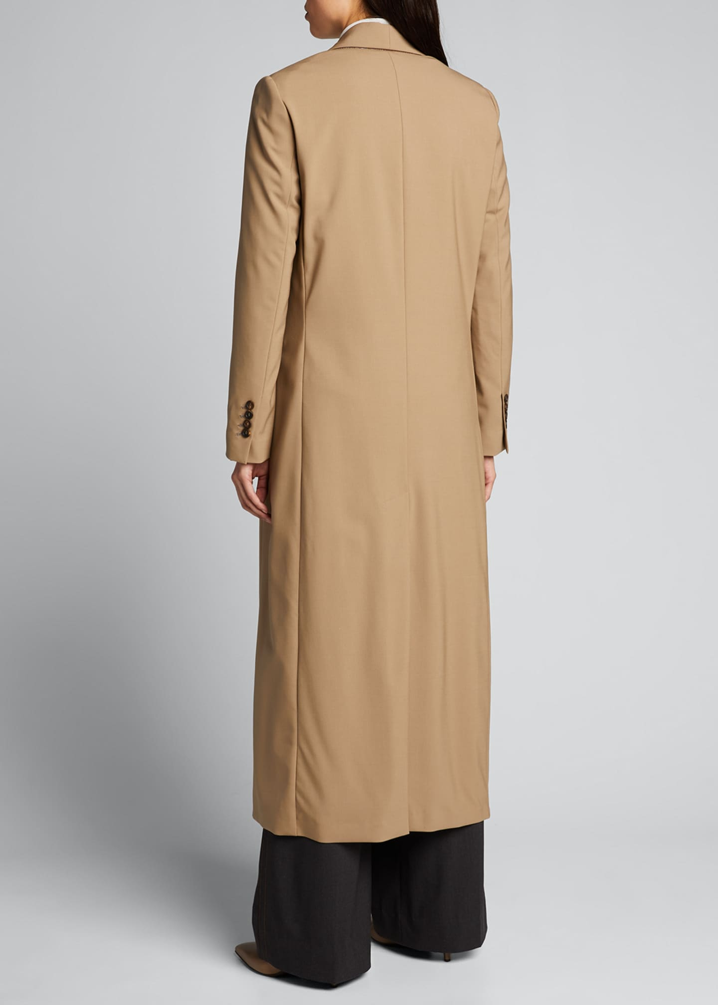 Image 2 of 5: Long Wool-Twill Coat