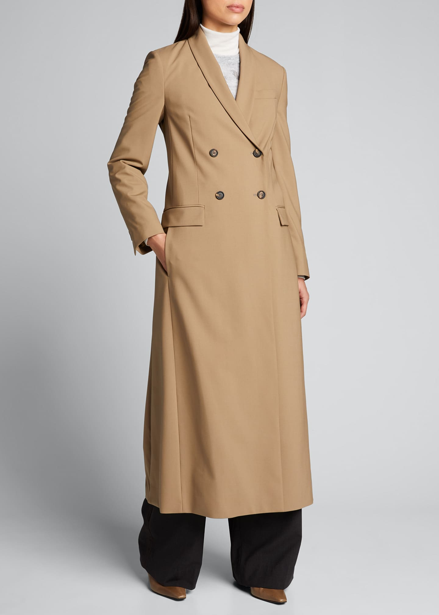 Image 3 of 5: Long Wool-Twill Coat