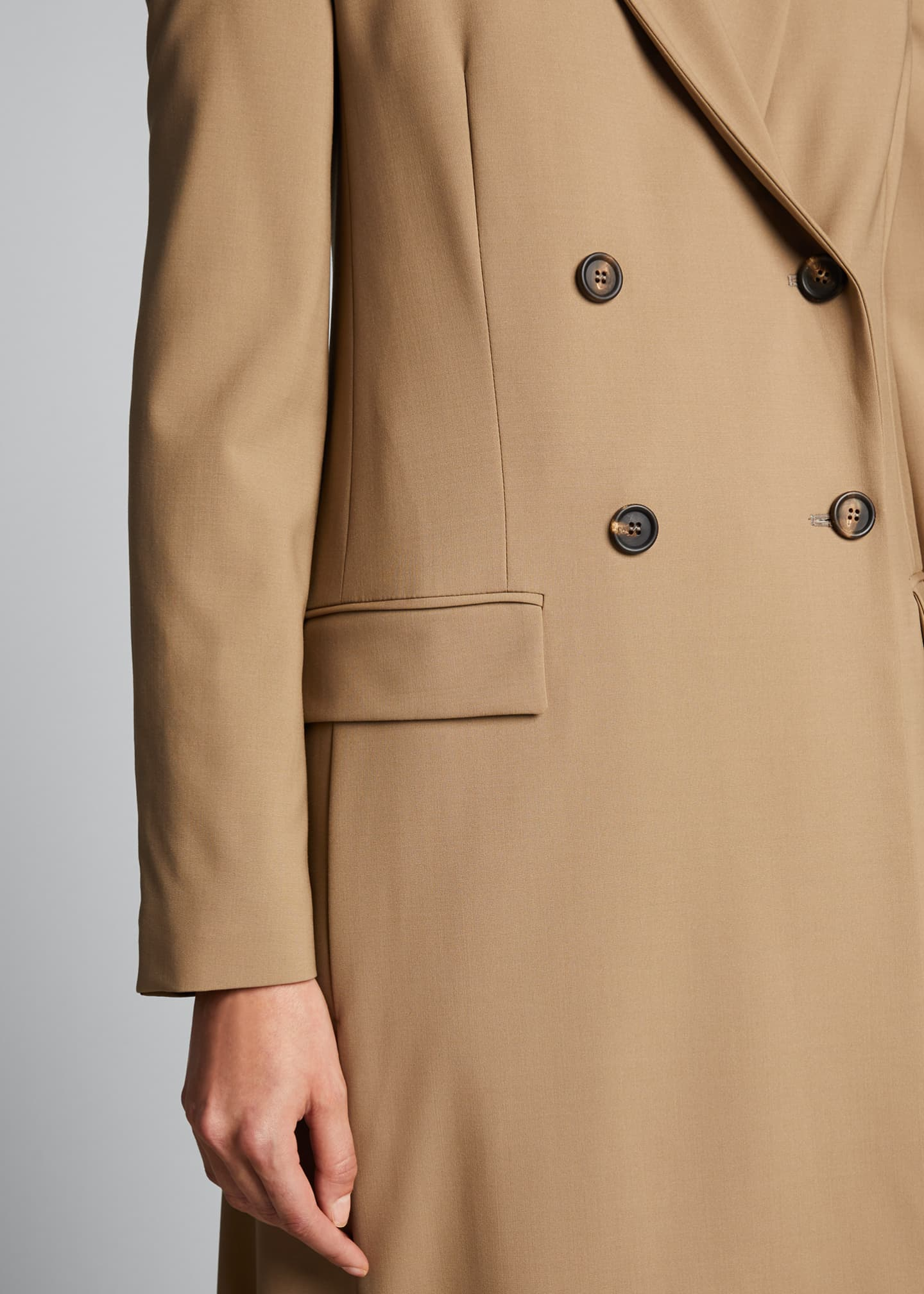 Image 4 of 5: Long Wool-Twill Coat