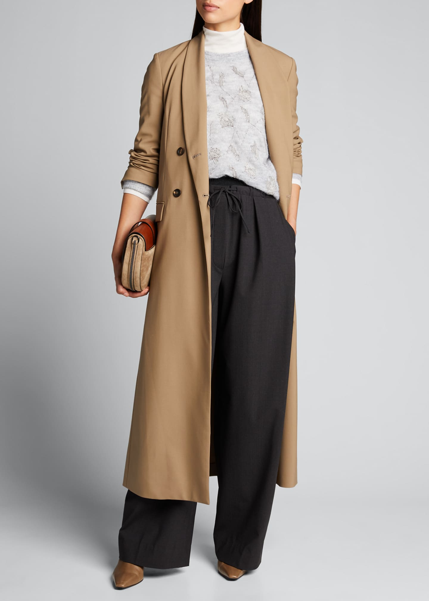Image 1 of 5: Long Wool-Twill Coat