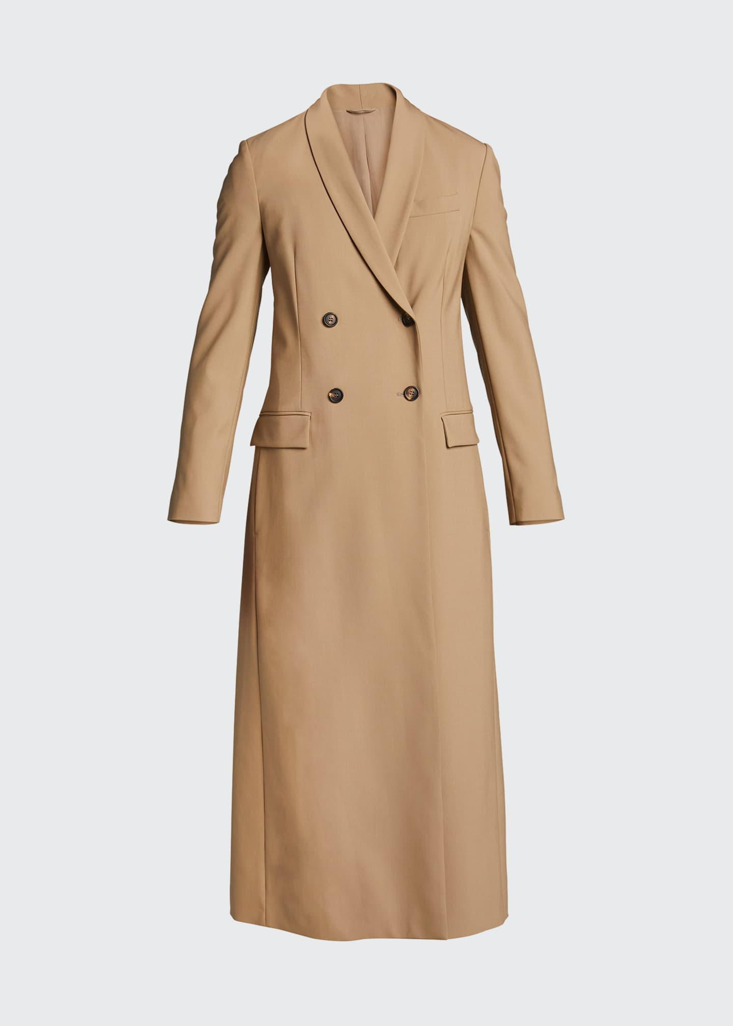 Image 5 of 5: Long Wool-Twill Coat
