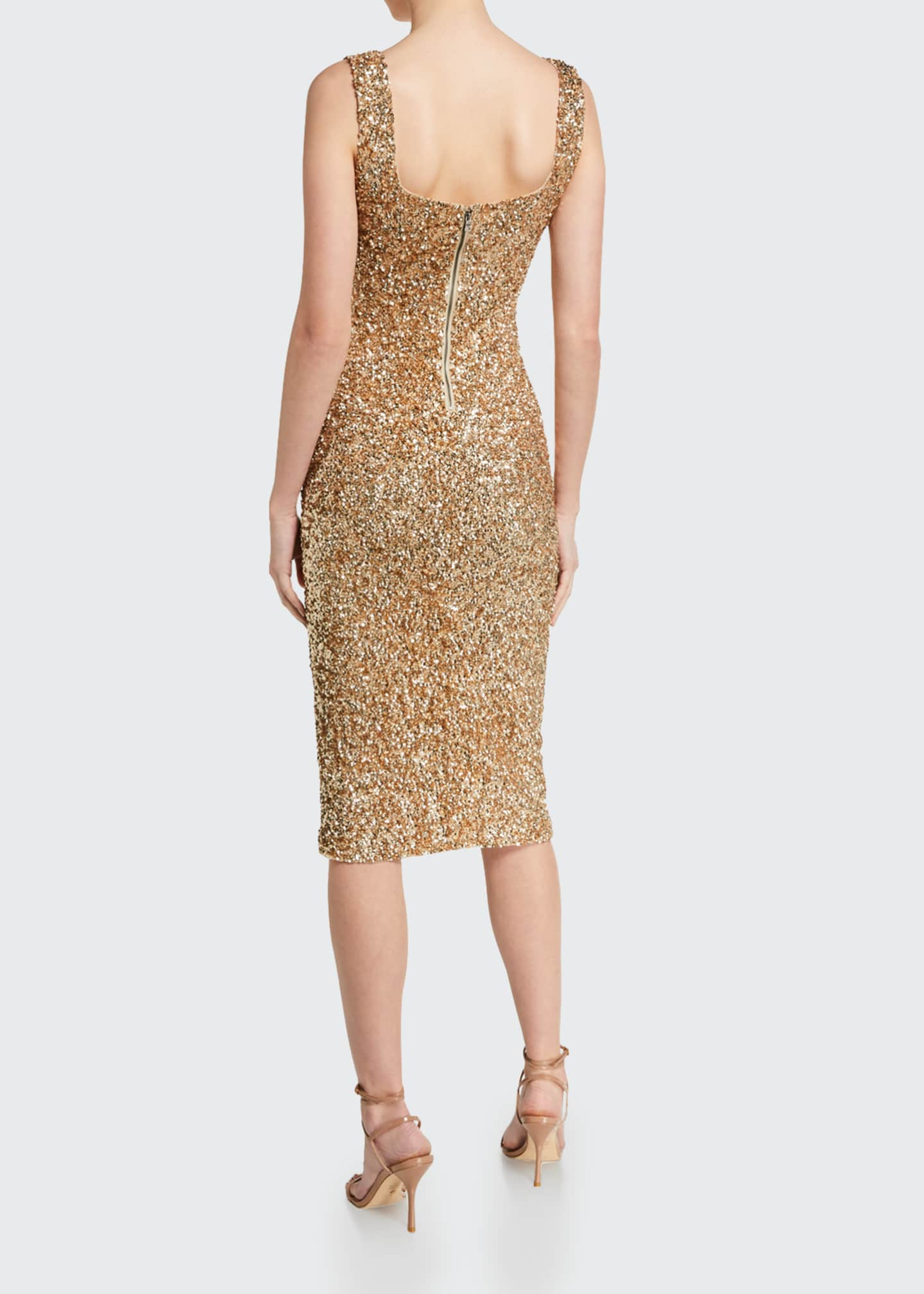 Image 2 of 2: Helen Sequined Fitted Square-Neck Dress