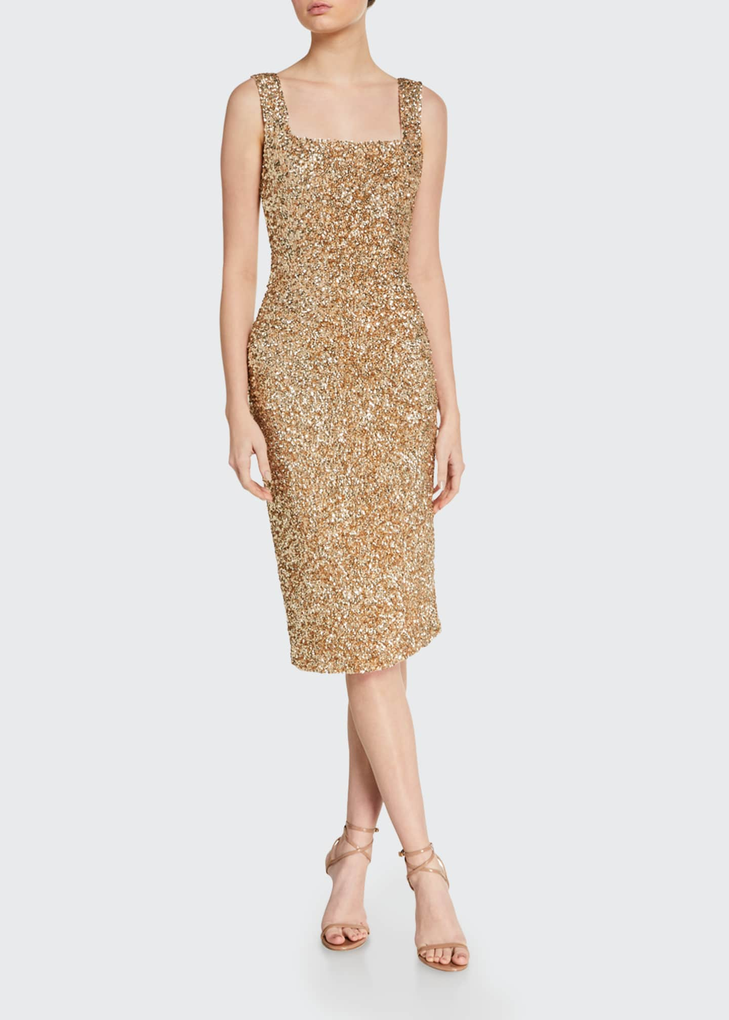 Image 1 of 2: Helen Sequined Fitted Square-Neck Dress