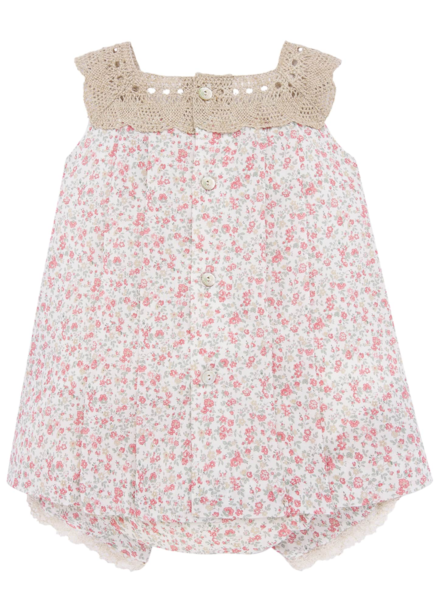 Image 2 of 2: Girl's Floral Print Crochet Trim Dress w/ Bloomers, Size 3-24 Months