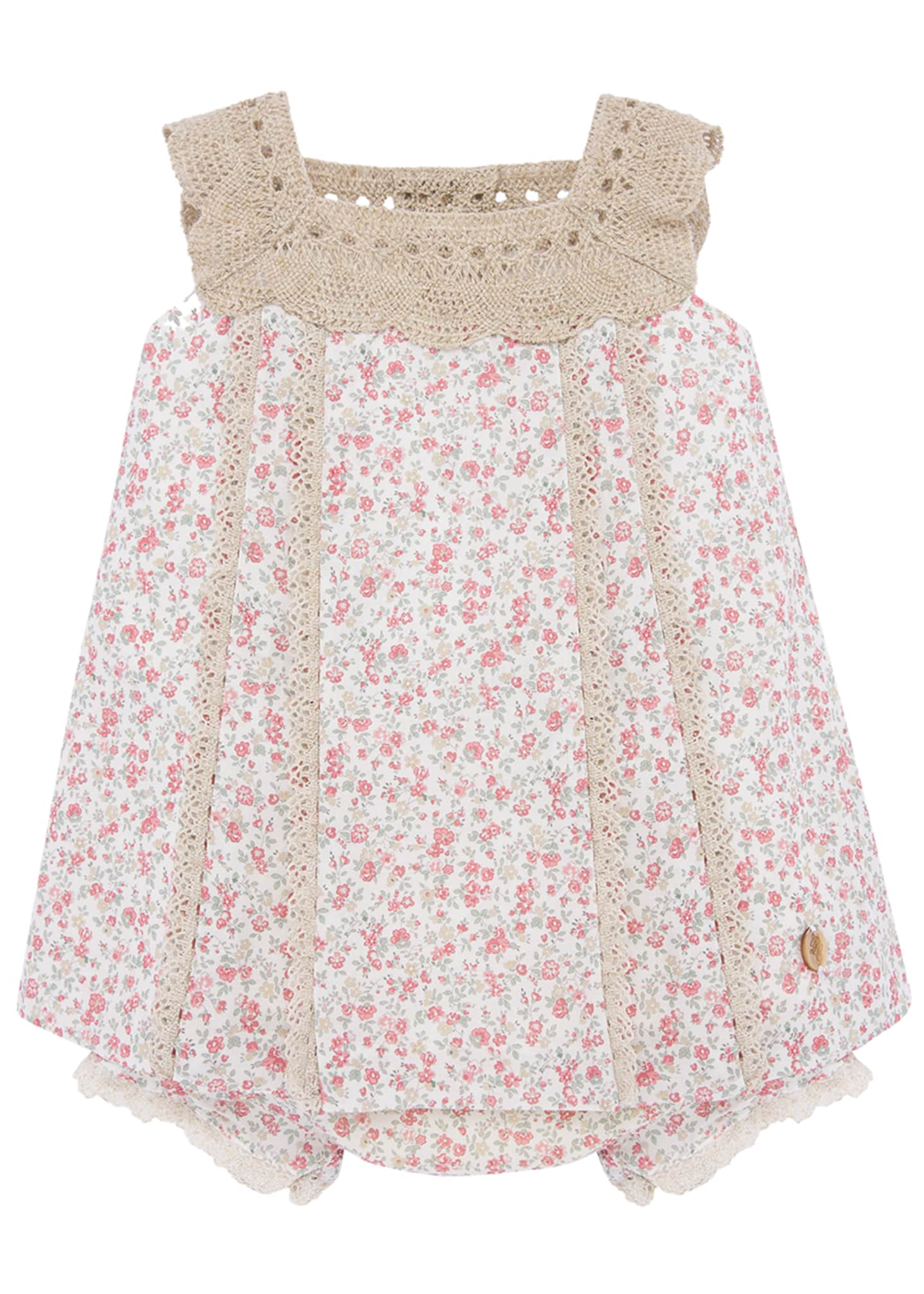 Image 1 of 2: Girl's Floral Print Crochet Trim Dress w/ Bloomers, Size 3-24 Months