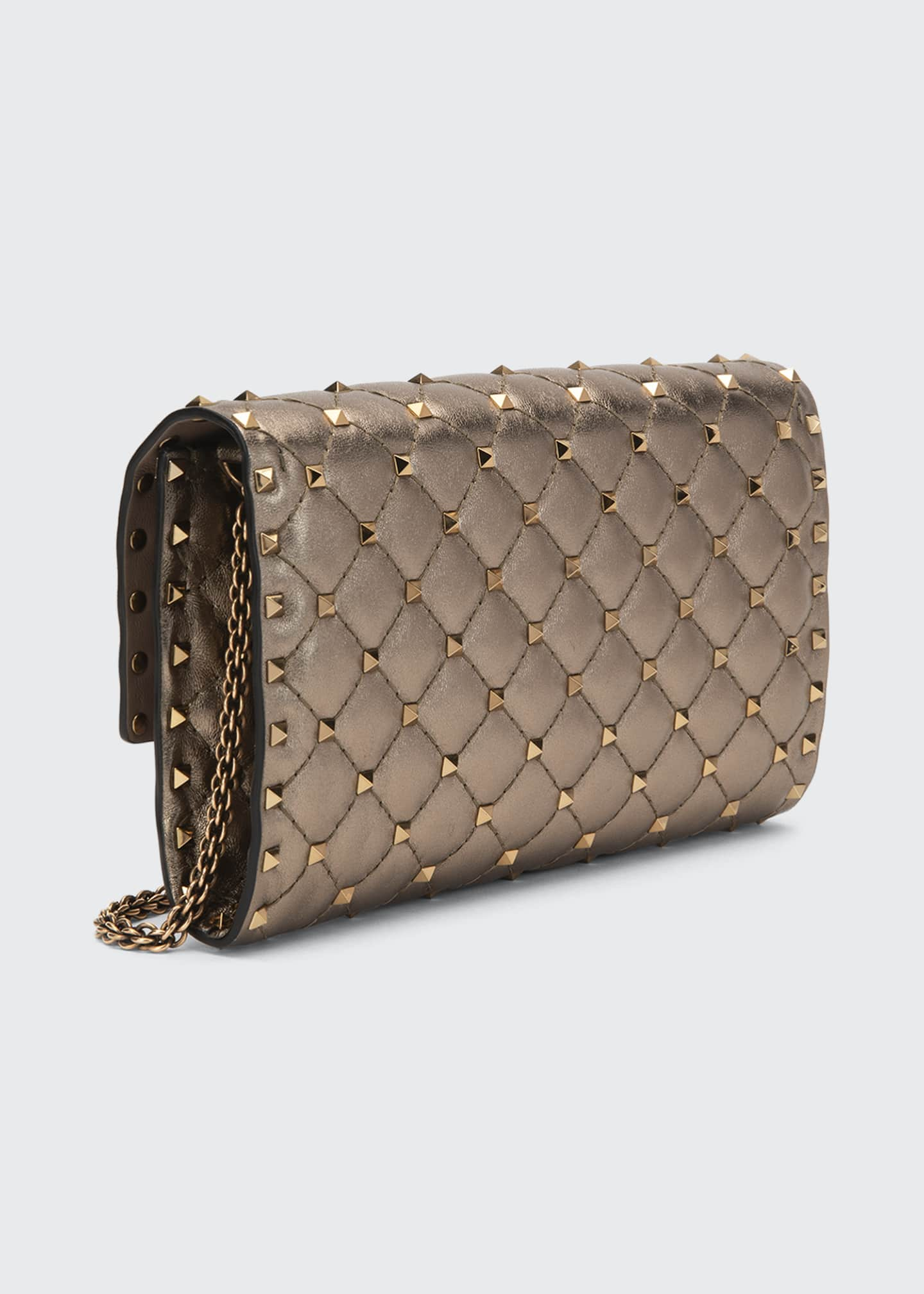 Image 3 of 4: Rockstud Spike Quilted Napa Leather Wallet on Chain
