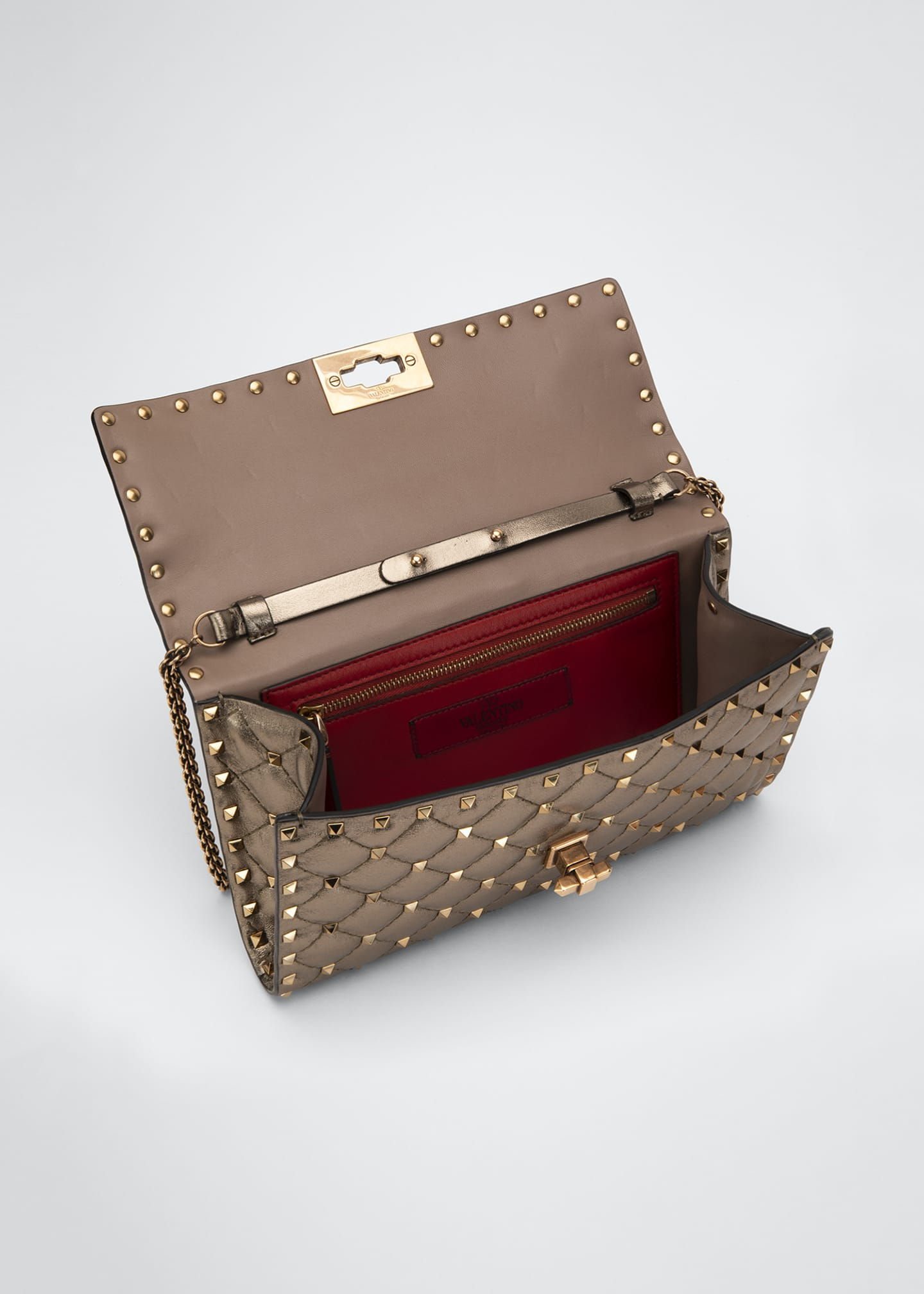 Image 4 of 4: Rockstud Spike Quilted Napa Leather Wallet on Chain