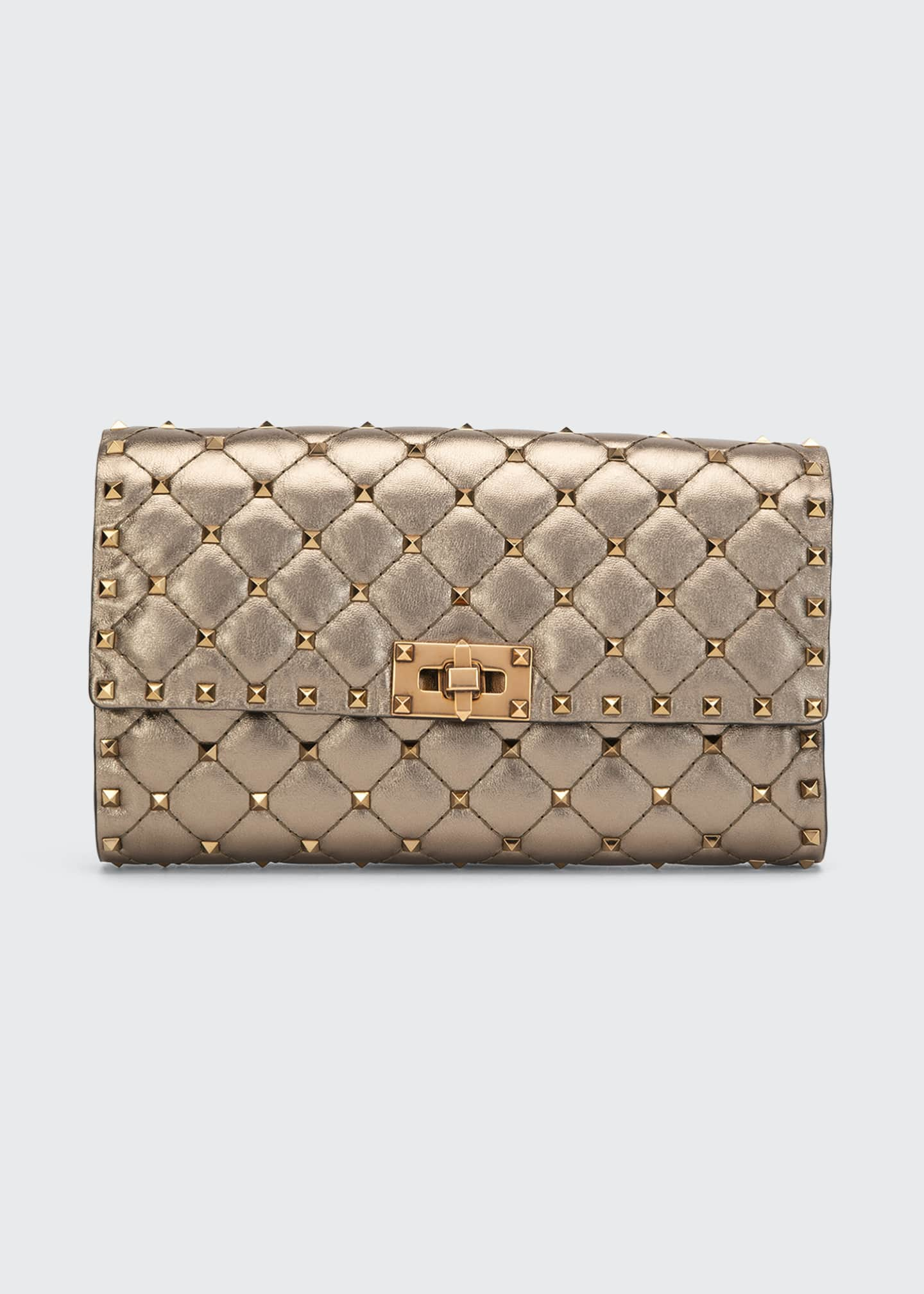 Image 1 of 4: Rockstud Spike Quilted Napa Leather Wallet on Chain