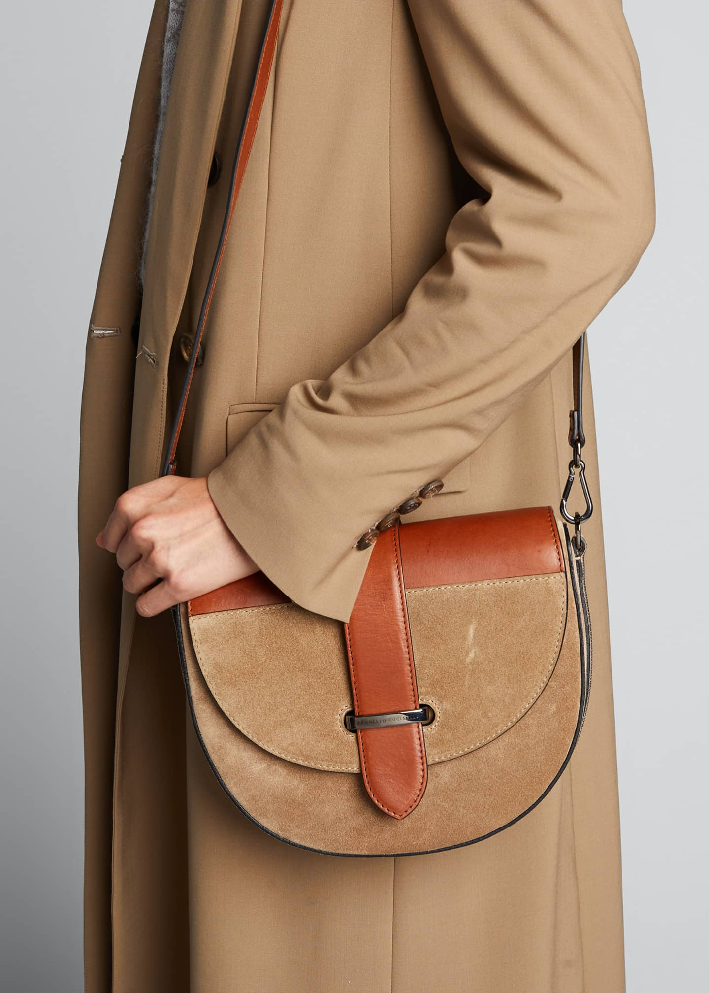 Image 2 of 5: Two-Tone Mixed Leather Crossbody
