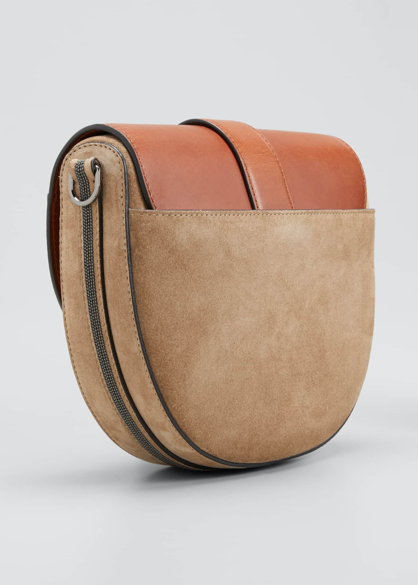 Image 3 of 5: Two-Tone Mixed Leather Crossbody