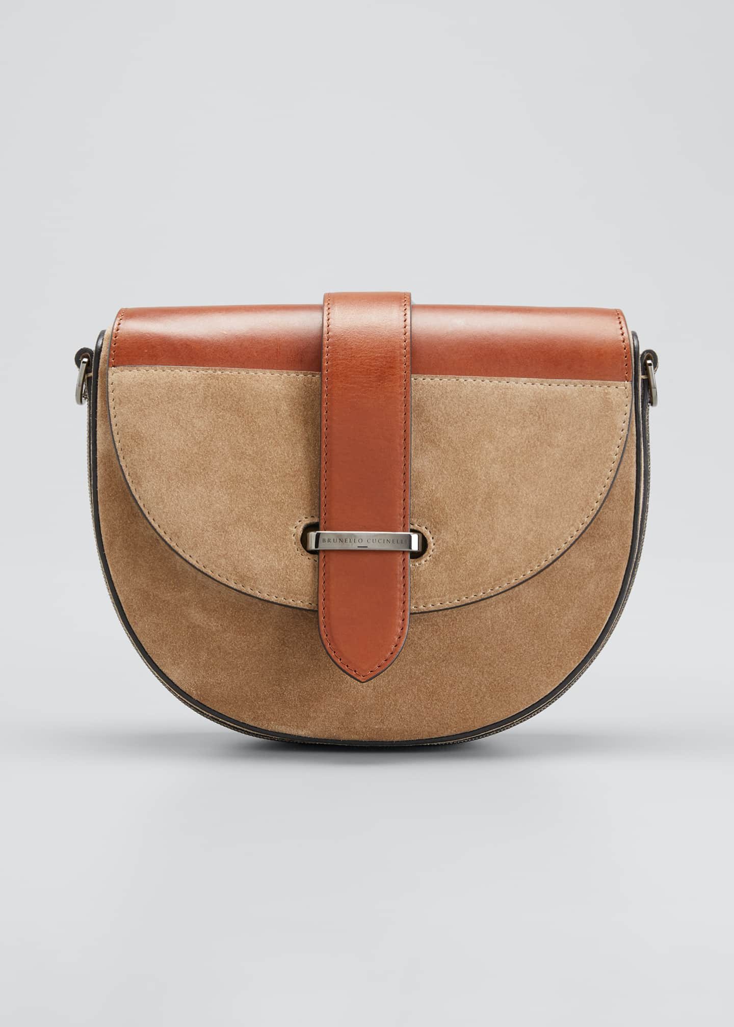 Image 1 of 5: Two-Tone Mixed Leather Crossbody