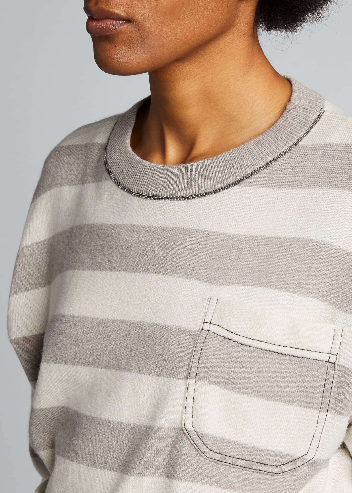 Image 4 of 5: Solomeo Yarn Striped Sweater