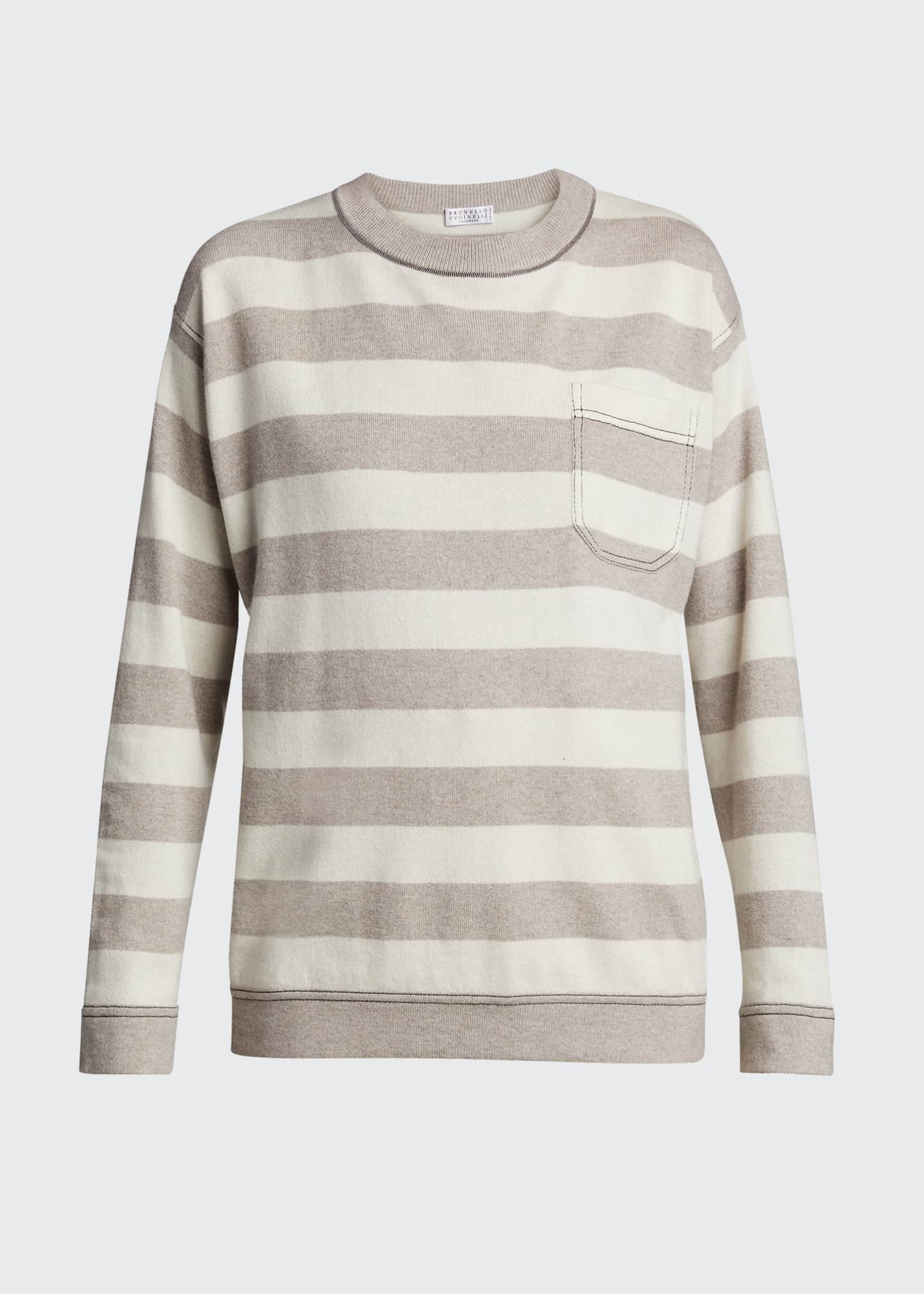 Image 5 of 5: Solomeo Yarn Striped Sweater