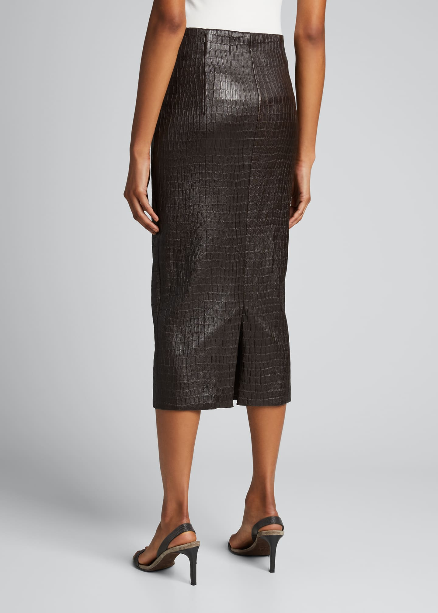 Image 2 of 5: Croc-Embossed Leather Pencil Skirt