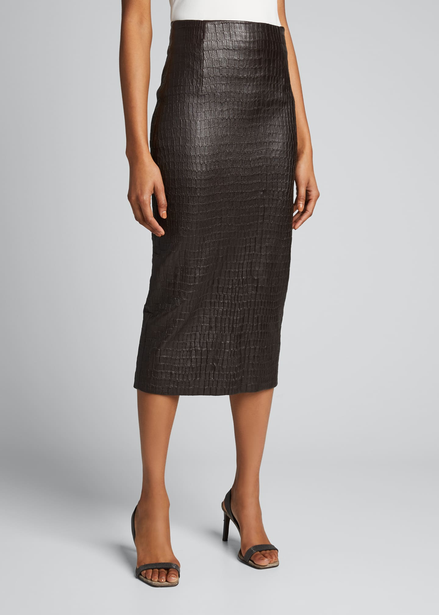 Image 3 of 5: Croc-Embossed Leather Pencil Skirt