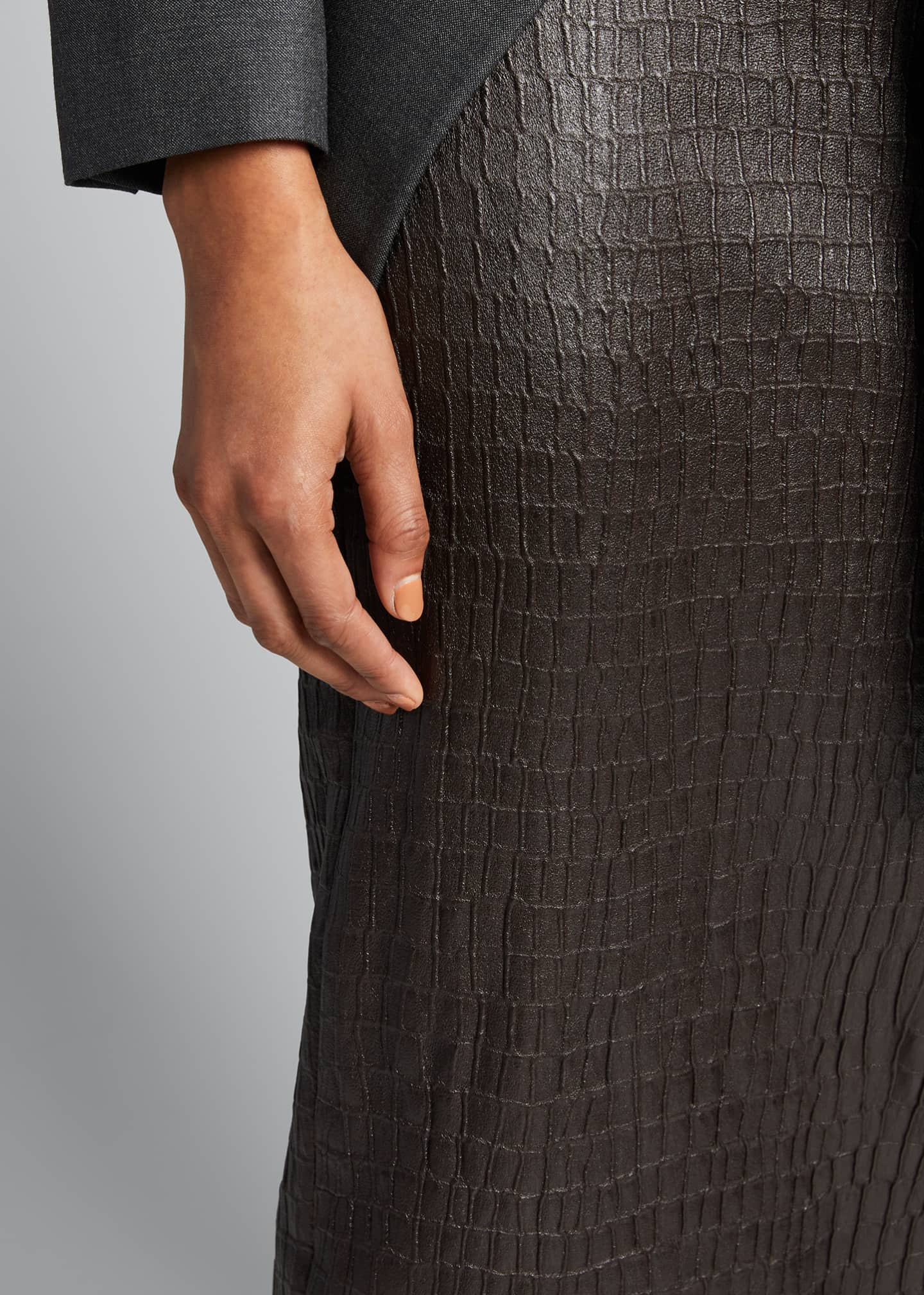 Image 4 of 5: Croc-Embossed Leather Pencil Skirt
