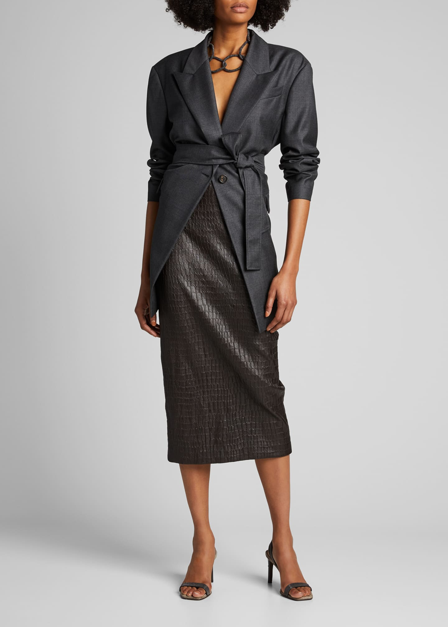 Image 1 of 5: Croc-Embossed Leather Pencil Skirt