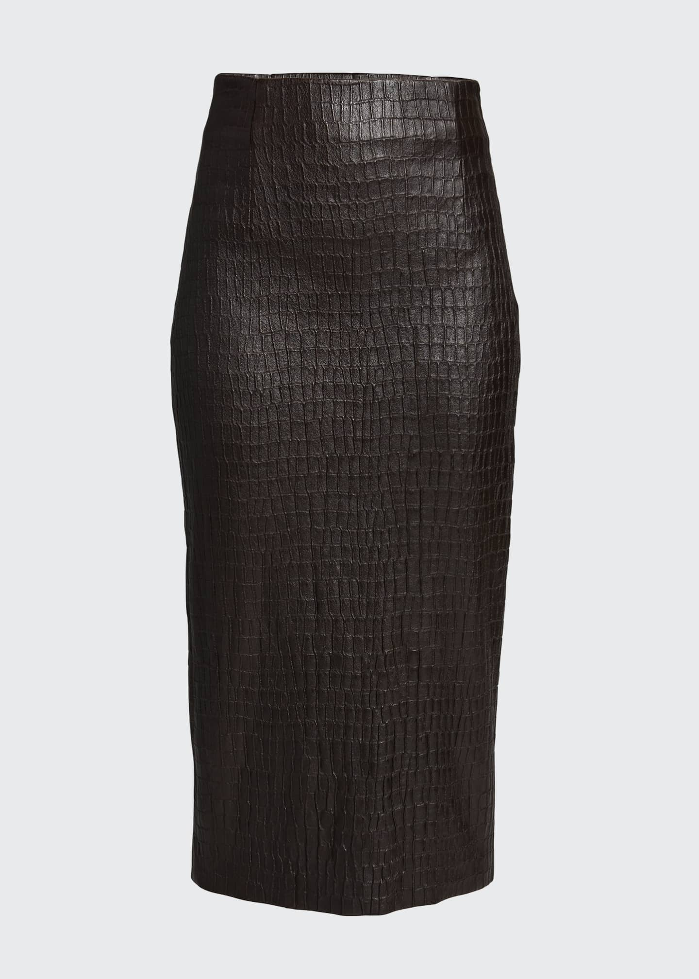 Image 5 of 5: Croc-Embossed Leather Pencil Skirt