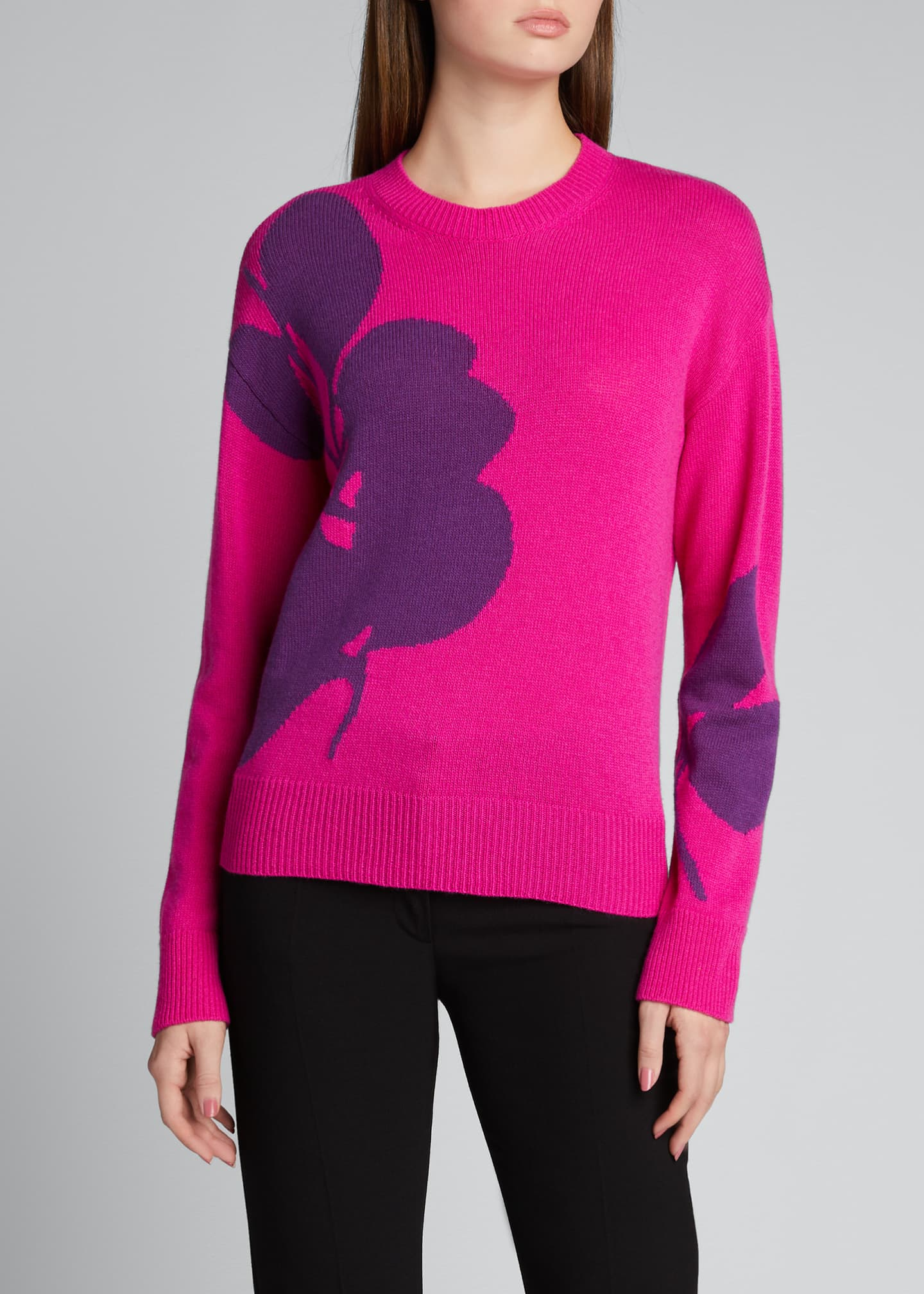 Image 3 of 5: Intarsia Floral Wool-Blend Sweater