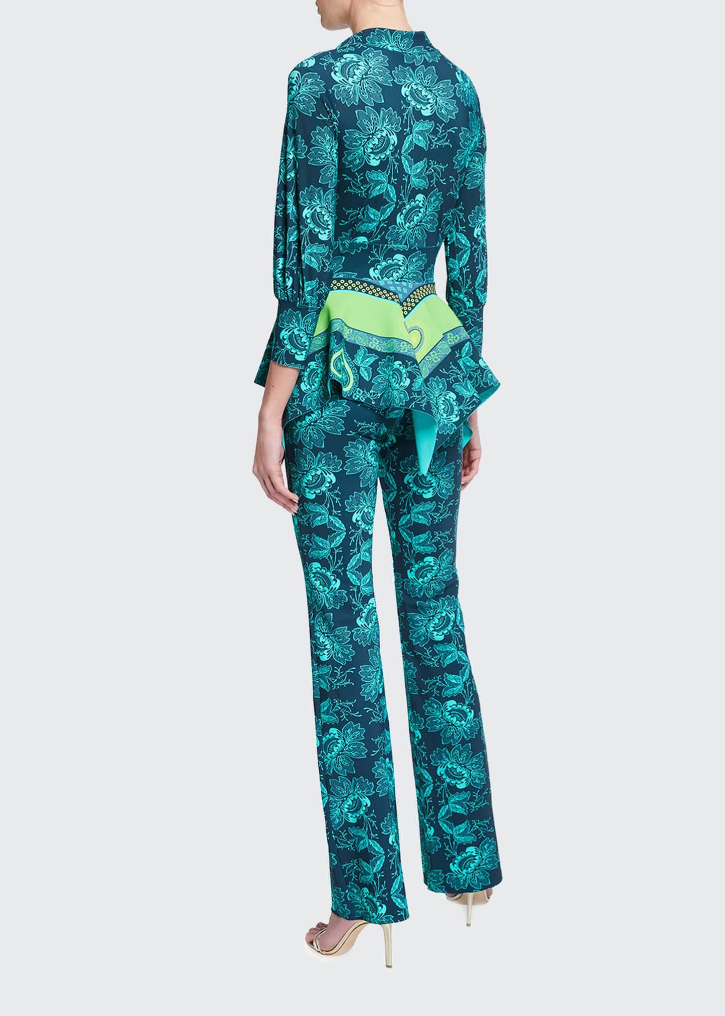 Image 2 of 2: Printed Blouse-Bodice Peplum Jumpsuit