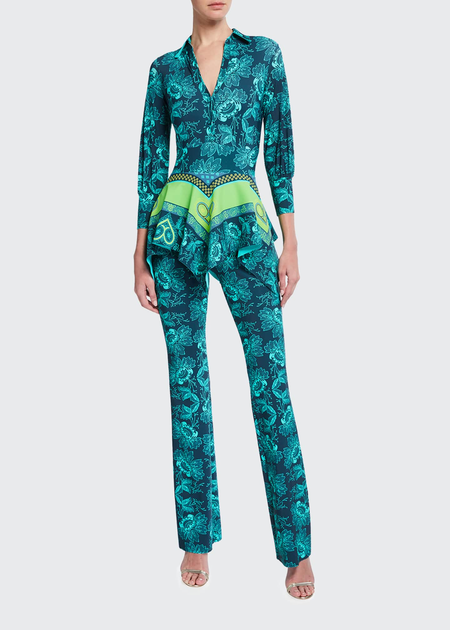 Image 1 of 2: Printed Blouse-Bodice Peplum Jumpsuit