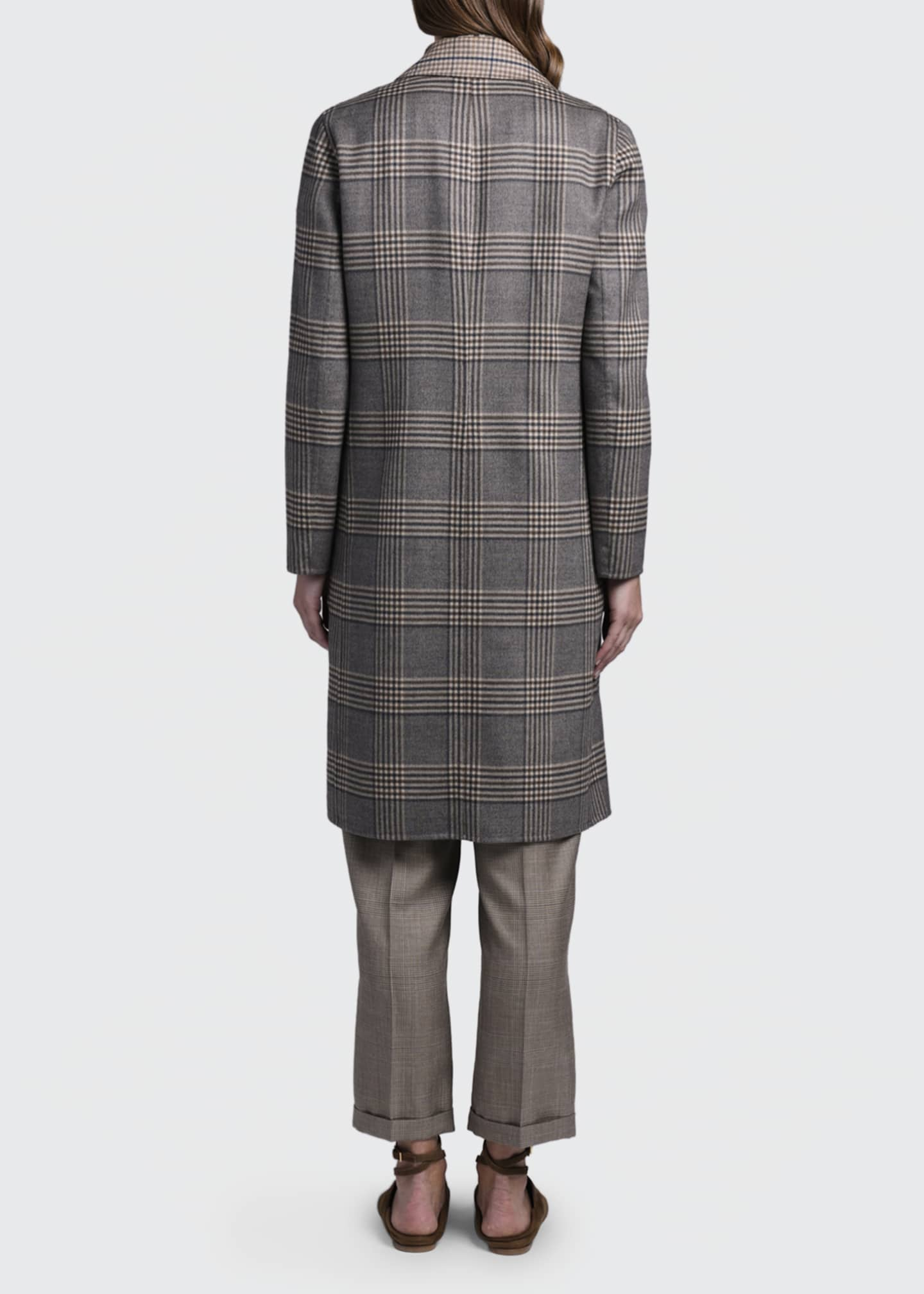 Image 2 of 4: Reversible Plaid Knee-Length Coat
