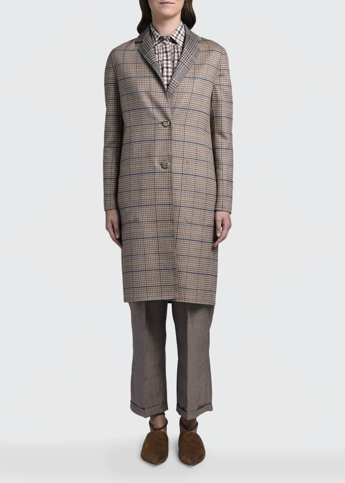 Image 3 of 4: Reversible Plaid Knee-Length Coat