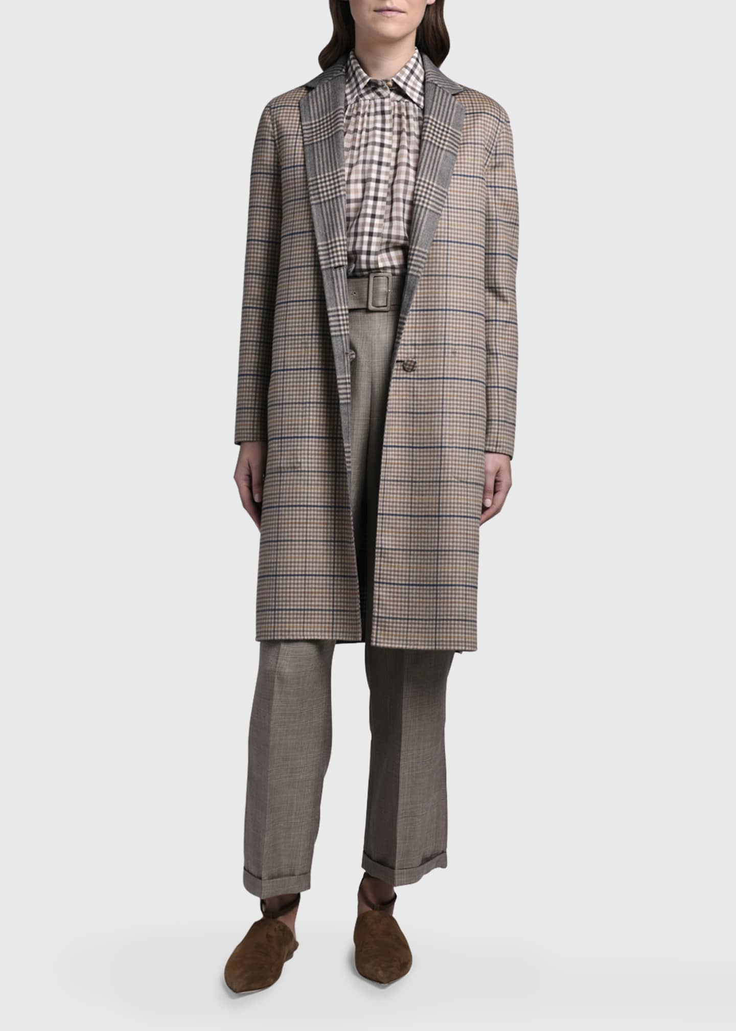Image 4 of 4: Reversible Plaid Knee-Length Coat