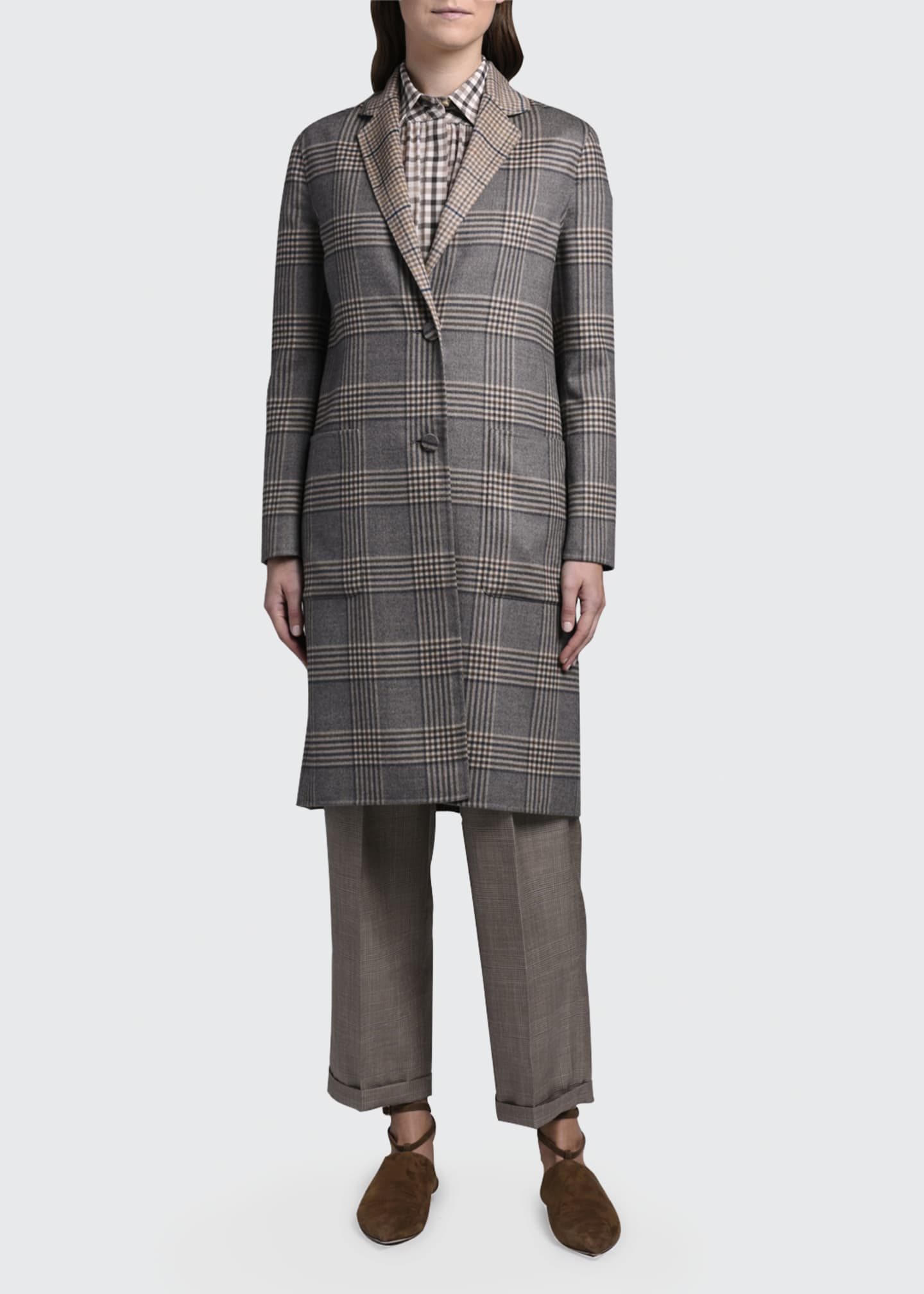 Image 1 of 4: Reversible Plaid Knee-Length Coat