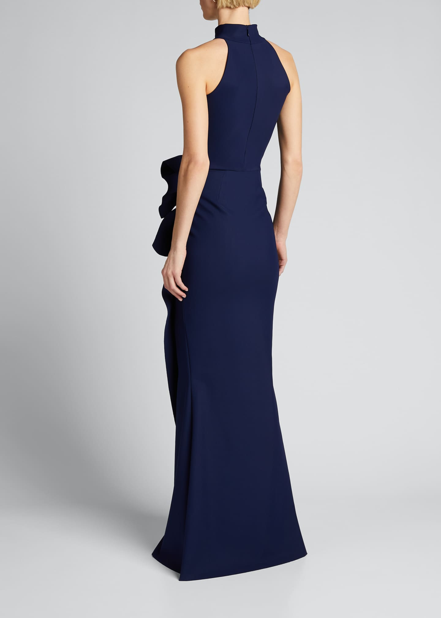 Image 2 of 5: Side Ruched Halter Gown with Asymmetric Ruffle
