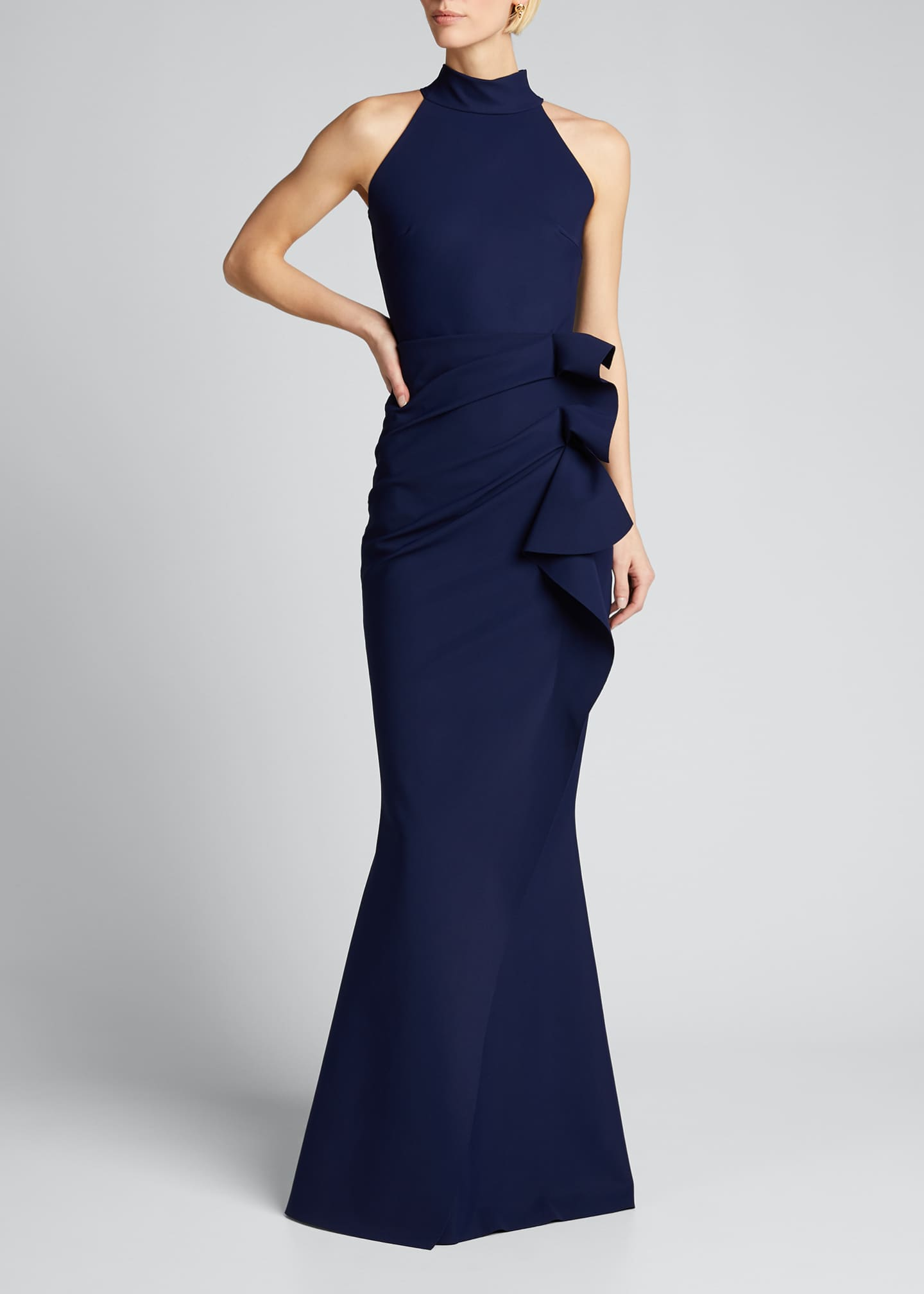 Image 3 of 5: Side Ruched Halter Gown with Asymmetric Ruffle