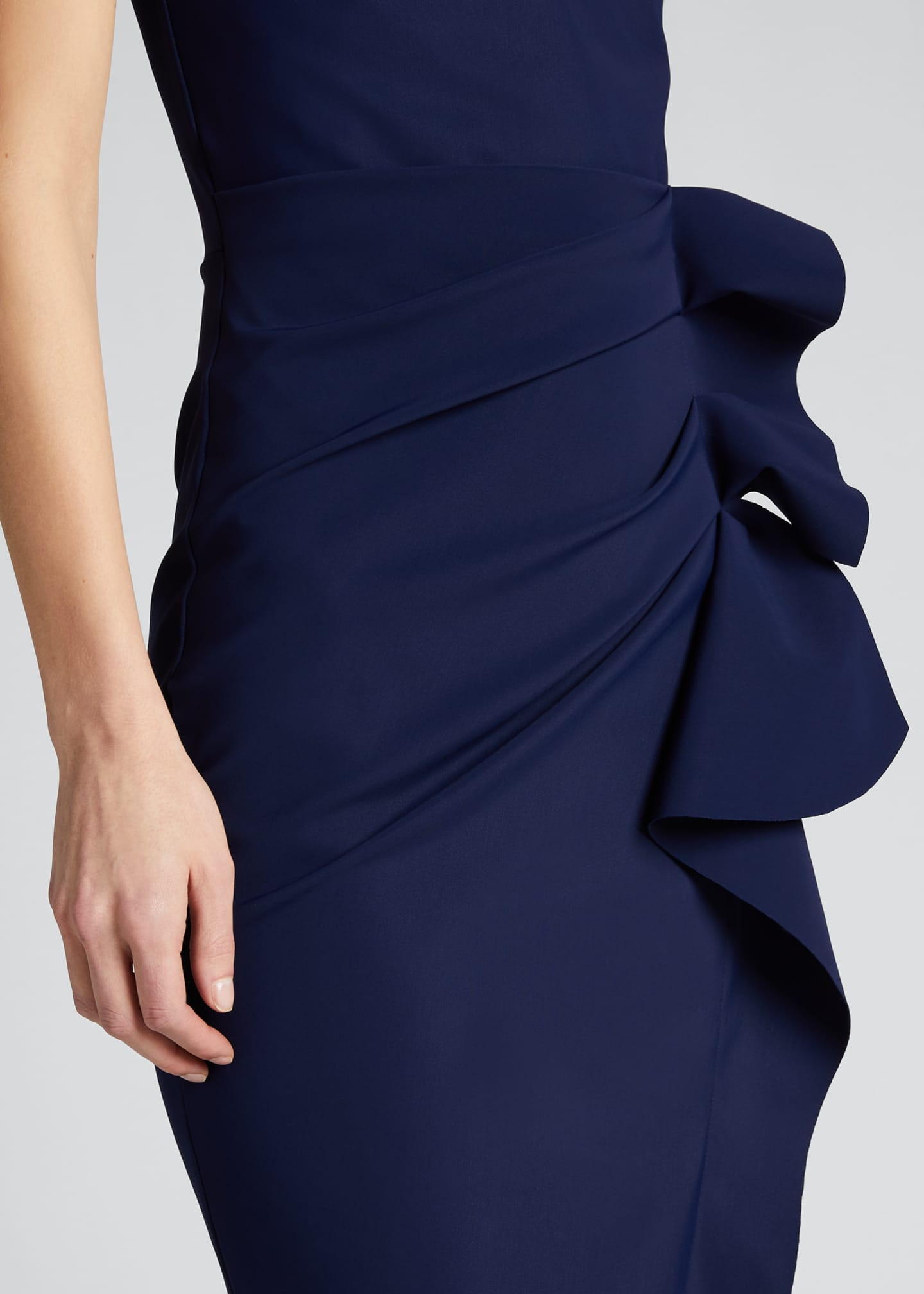 Image 4 of 5: Side Ruched Halter Gown with Asymmetric Ruffle