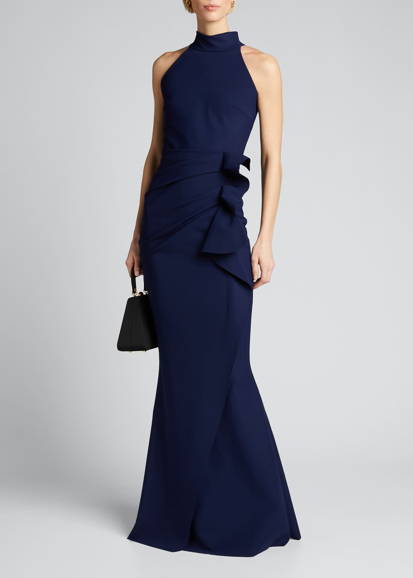Image 1 of 5: Side Ruched Halter Gown with Asymmetric Ruffle