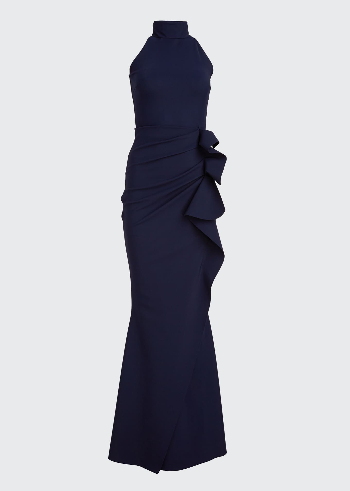 Image 5 of 5: Side Ruched Halter Gown with Asymmetric Ruffle
