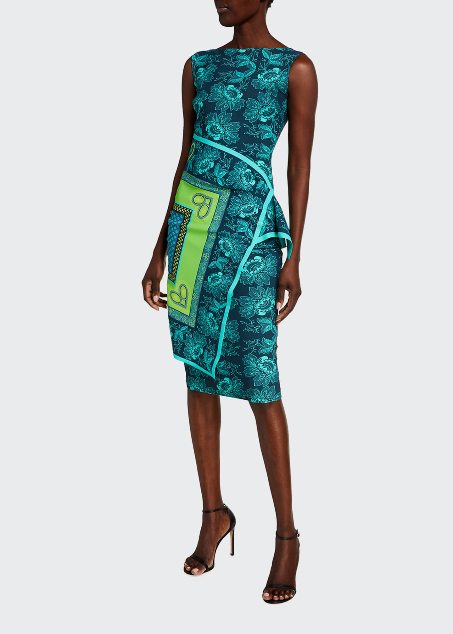 Image 1 of 2: Printed Flap-Waist Sleeveless Dress