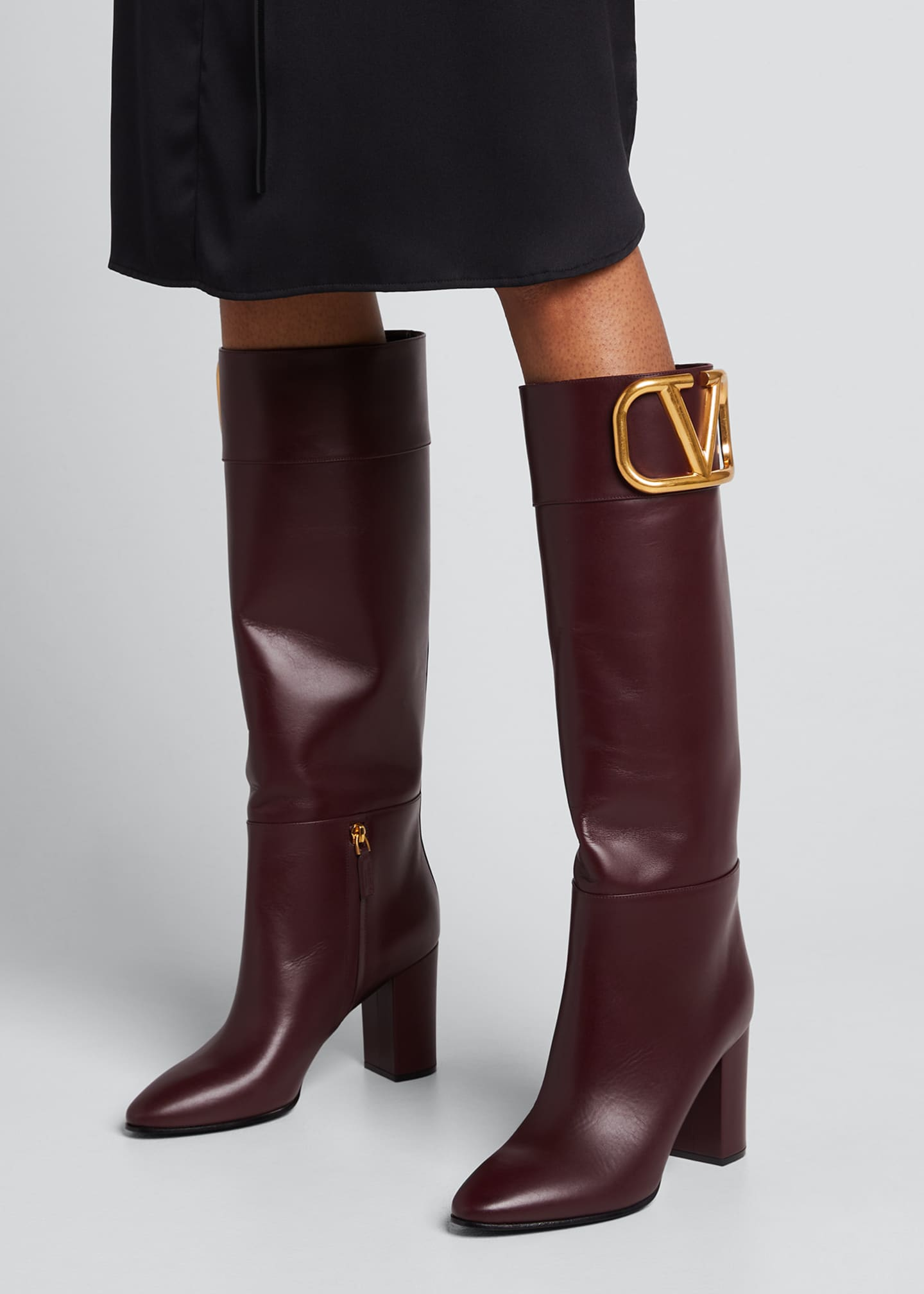 Image 2 of 5: V Logo Leather Knee Boots