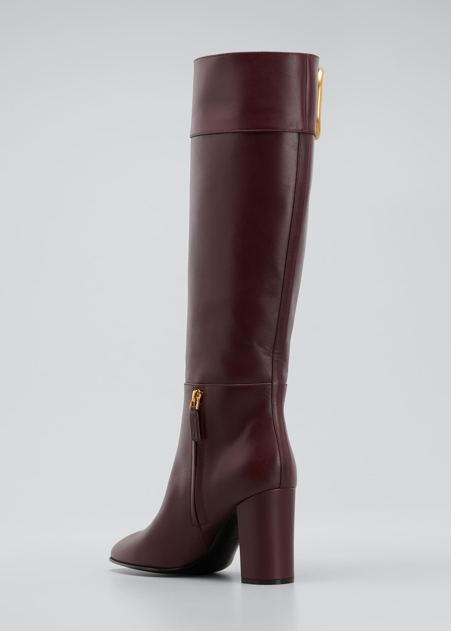 Image 4 of 5: V Logo Leather Knee Boots