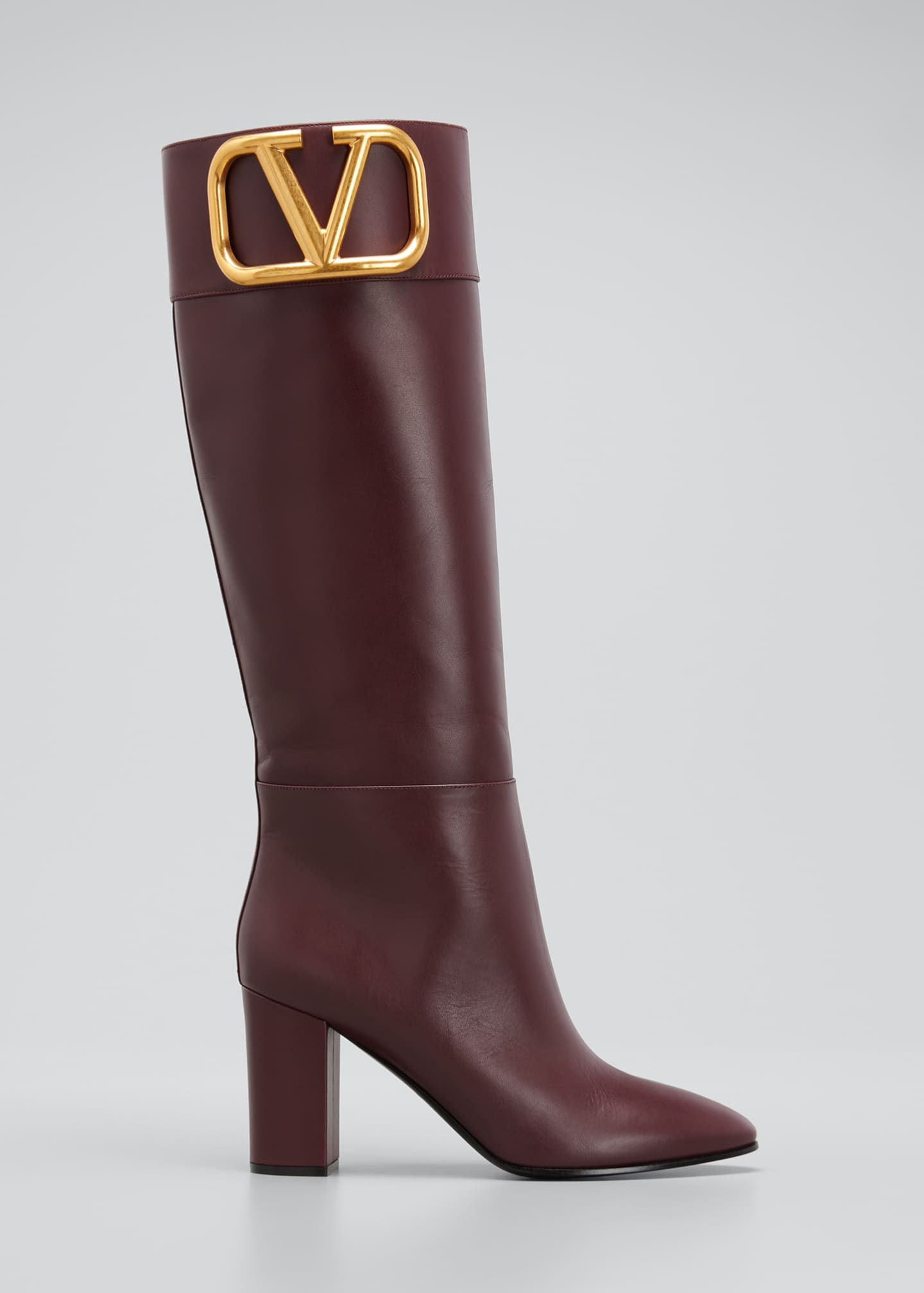 Image 1 of 5: V Logo Leather Knee Boots
