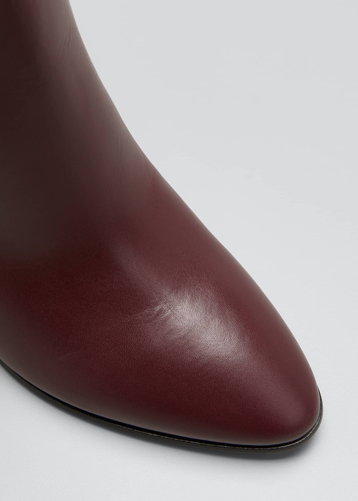 Image 5 of 5: V Logo Leather Knee Boots