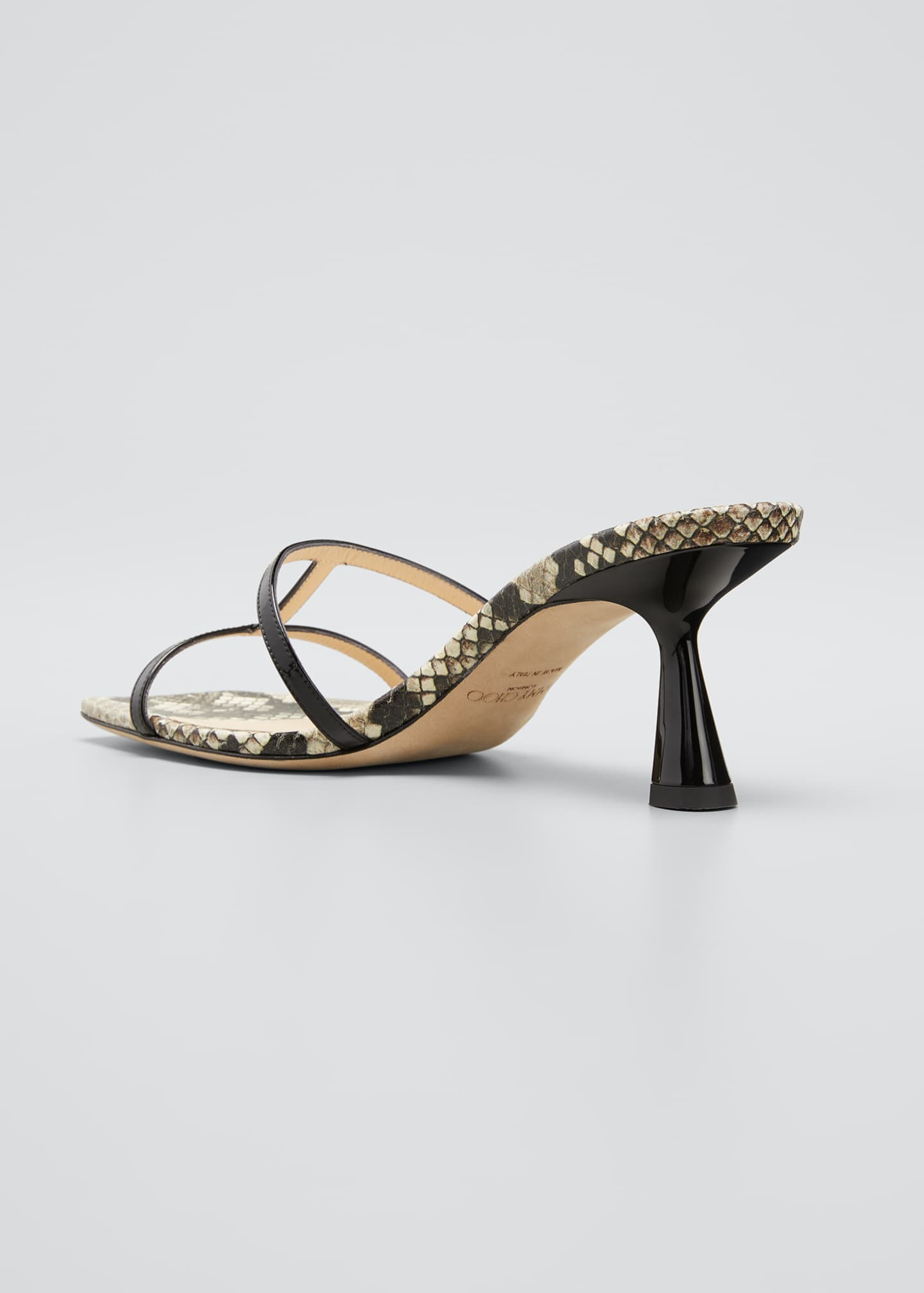 Image 2 of 3: Ria 65mm Snake-Print Slide Sandals
